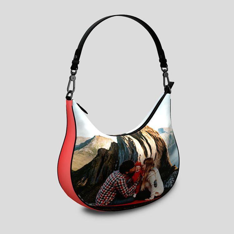 personalised curved hobo bag