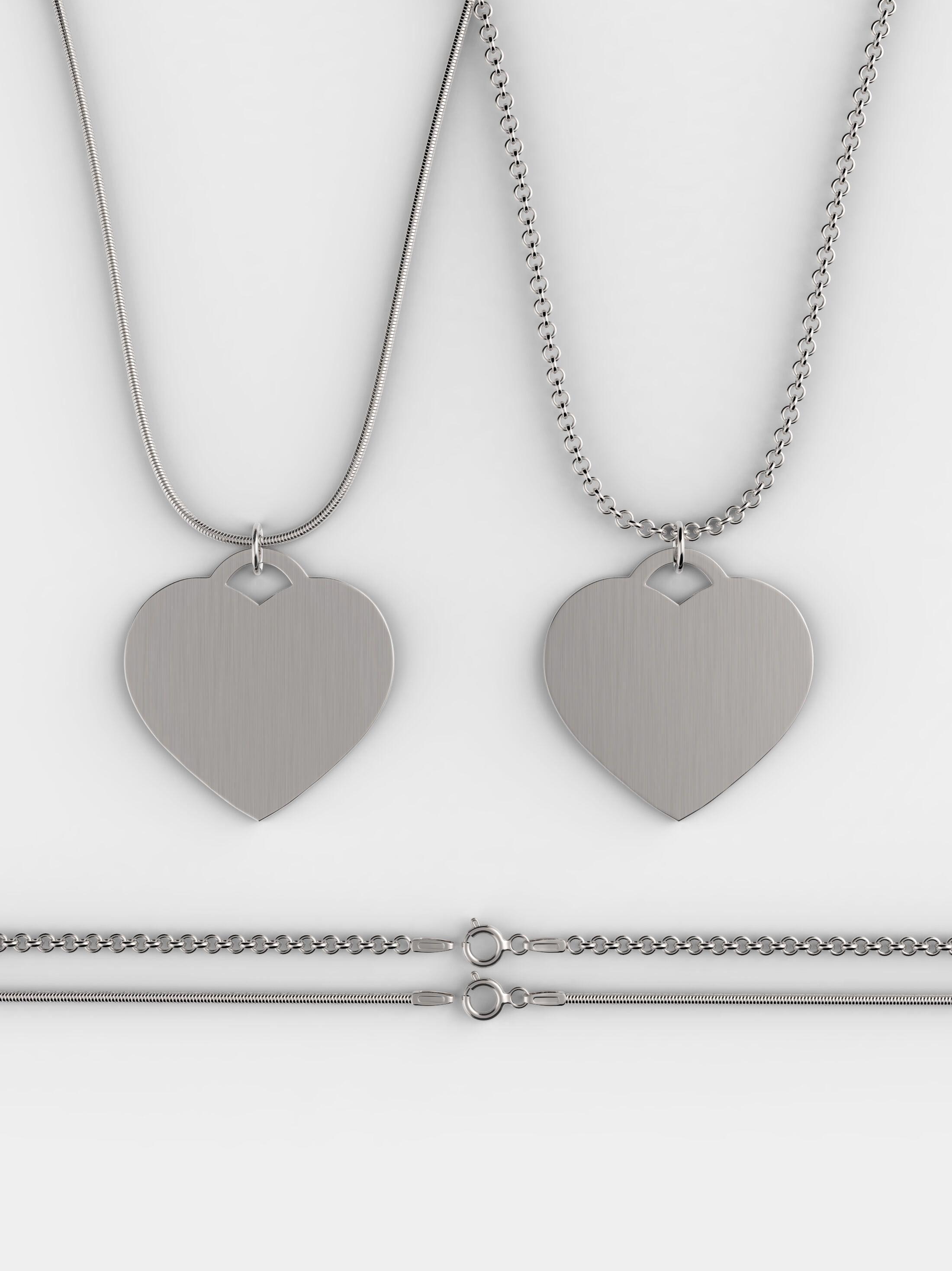 opzione di catenina della collana cuore in argento personalizzata