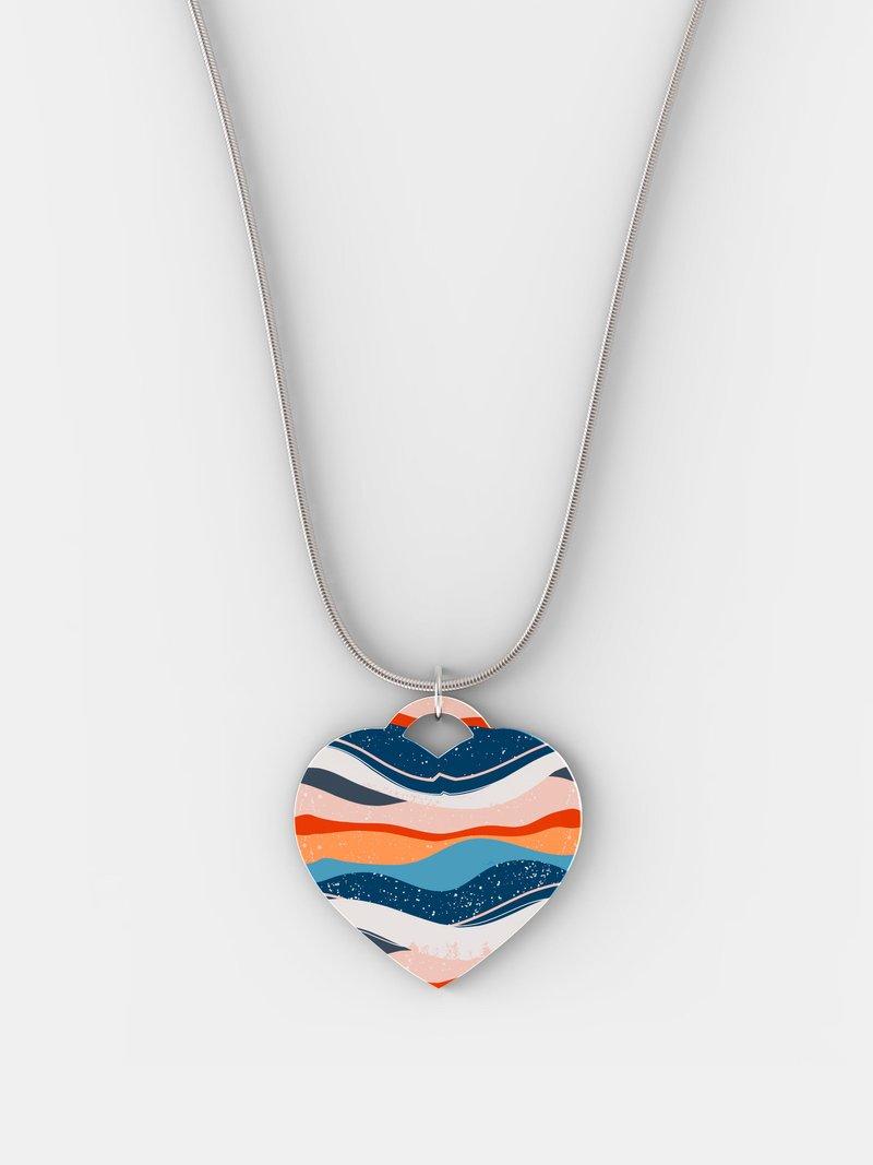 Bedruckte Silber Herzkette