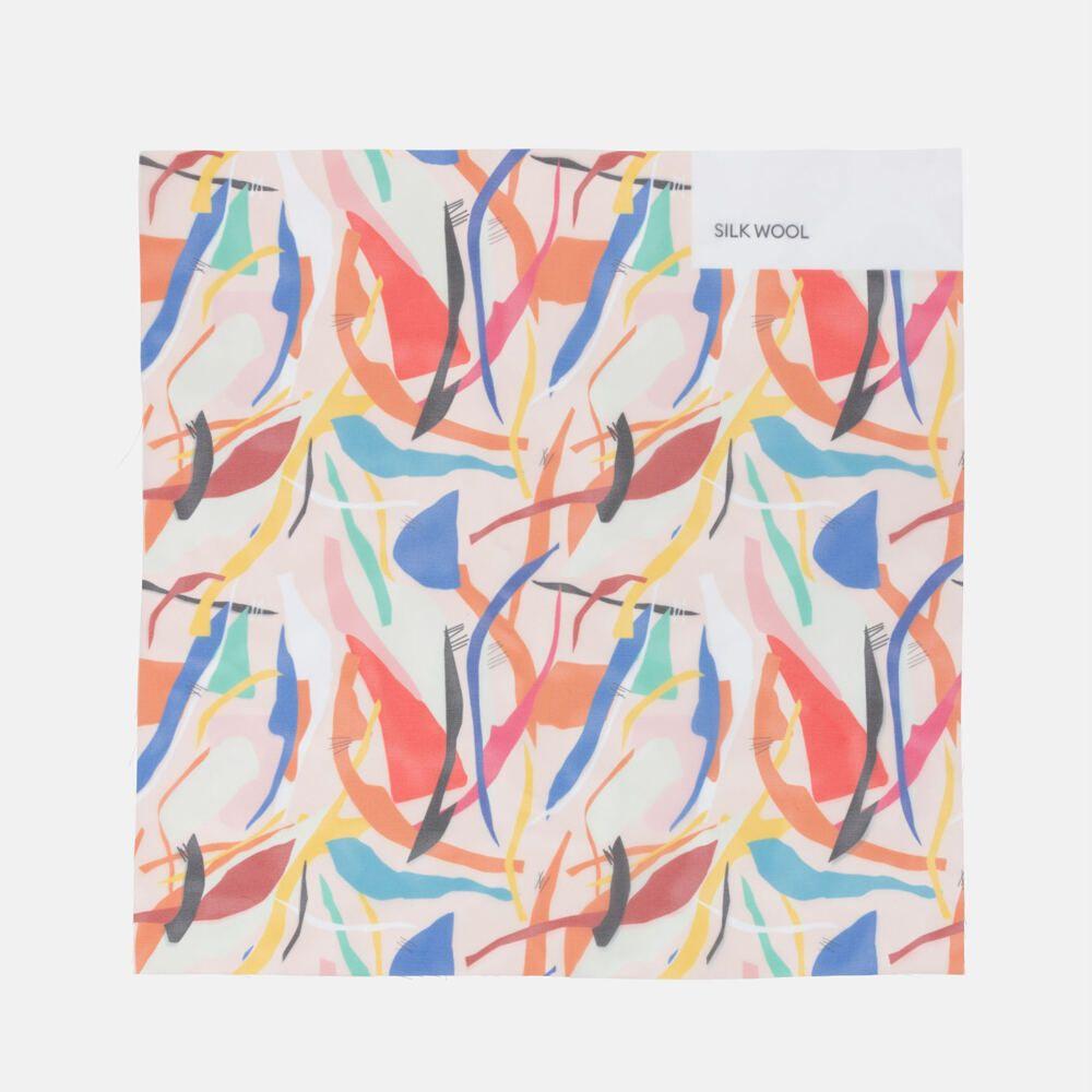 wool silk fabric print