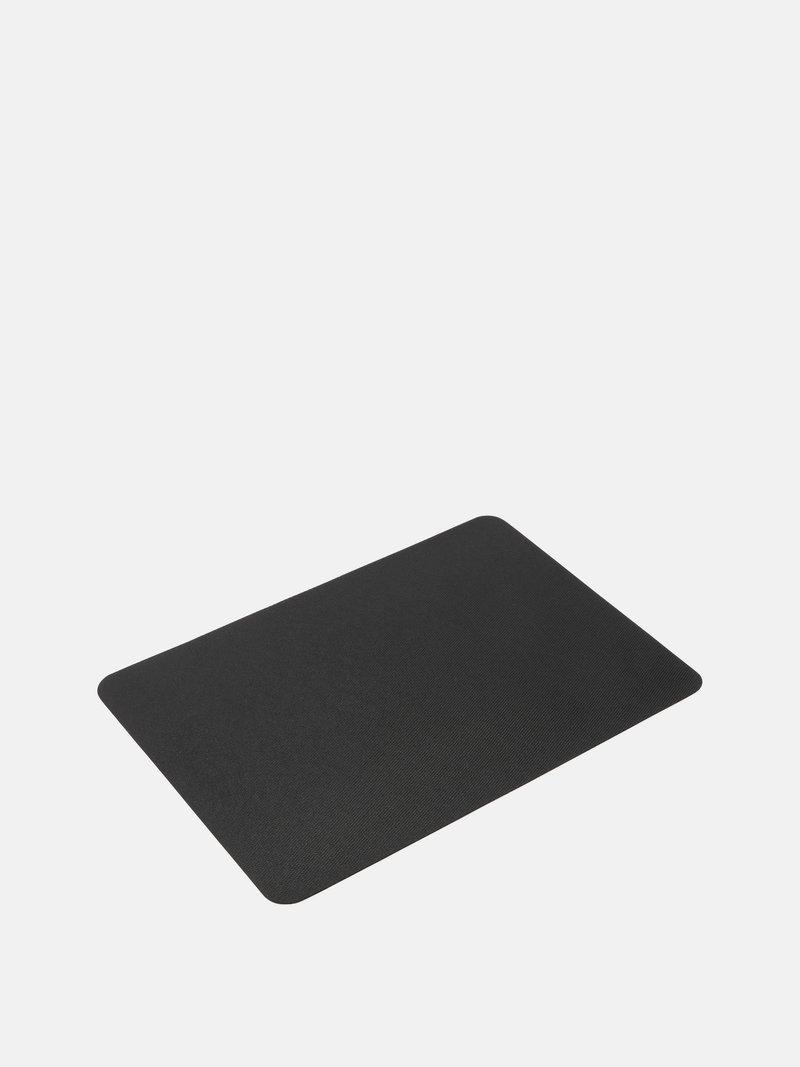 reverse side of the custom pet mat showing the black nonslip rubber