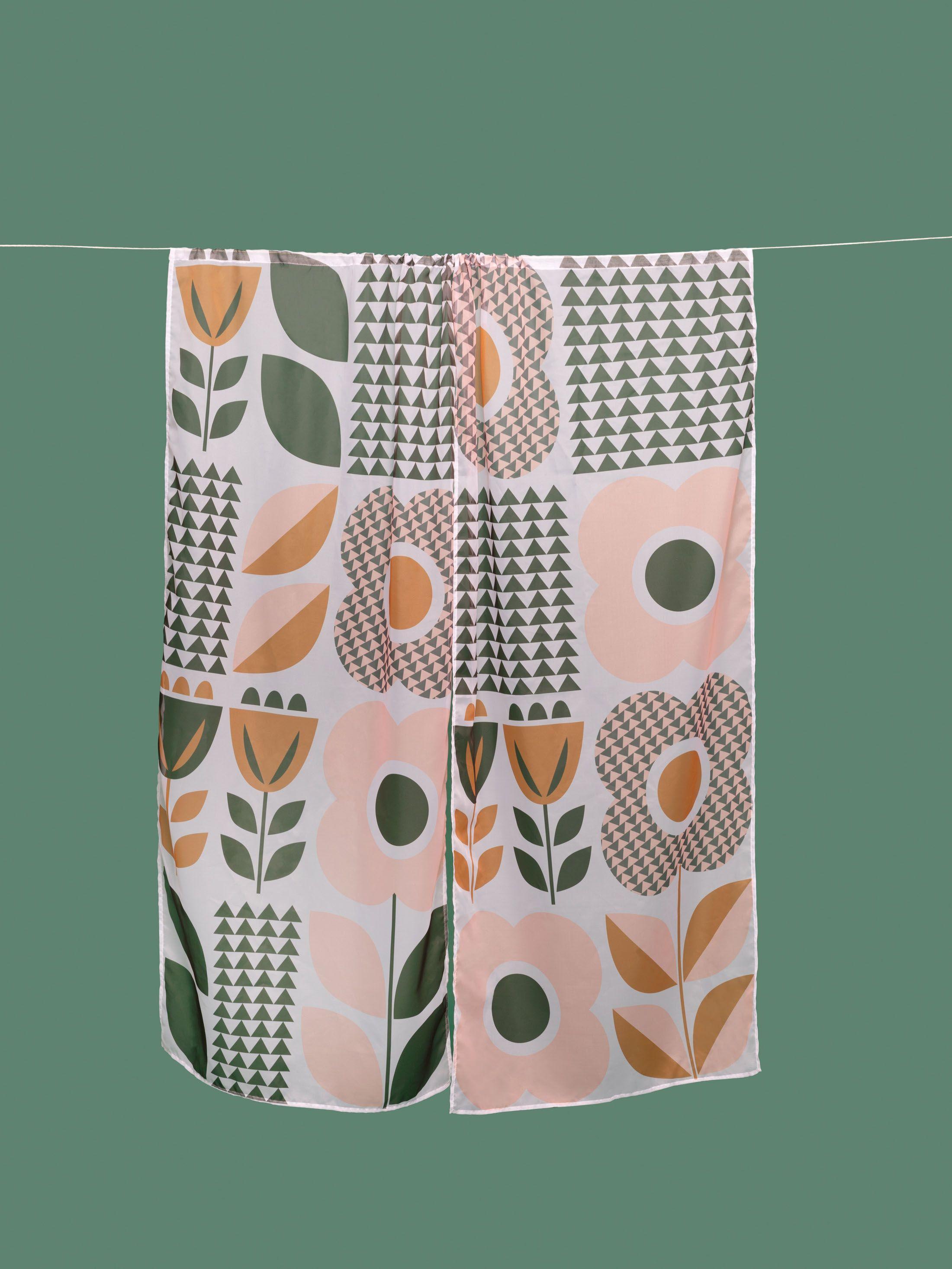 花柄 印刷 ボイルカーテン