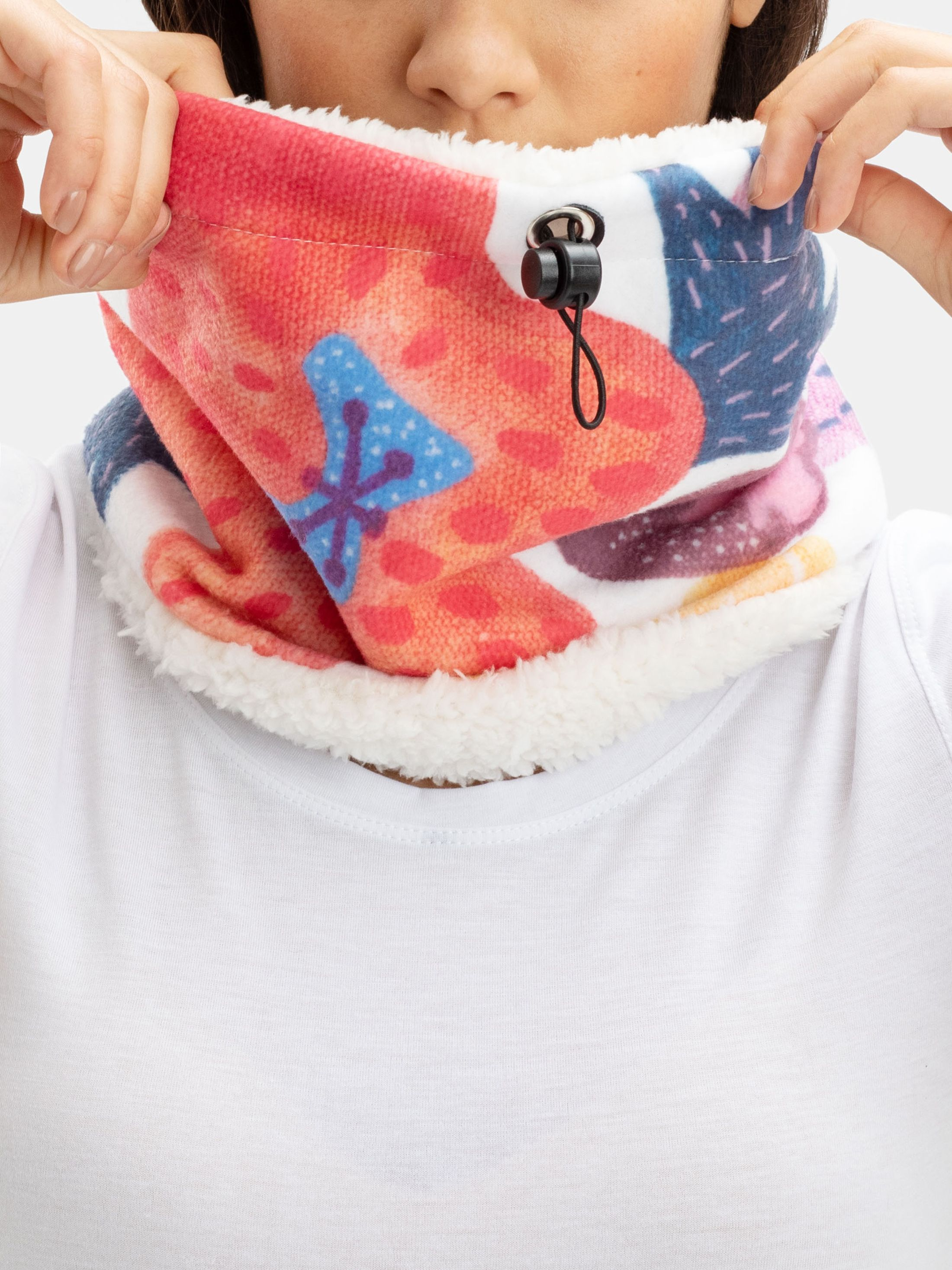 Printed neck warmer snood design