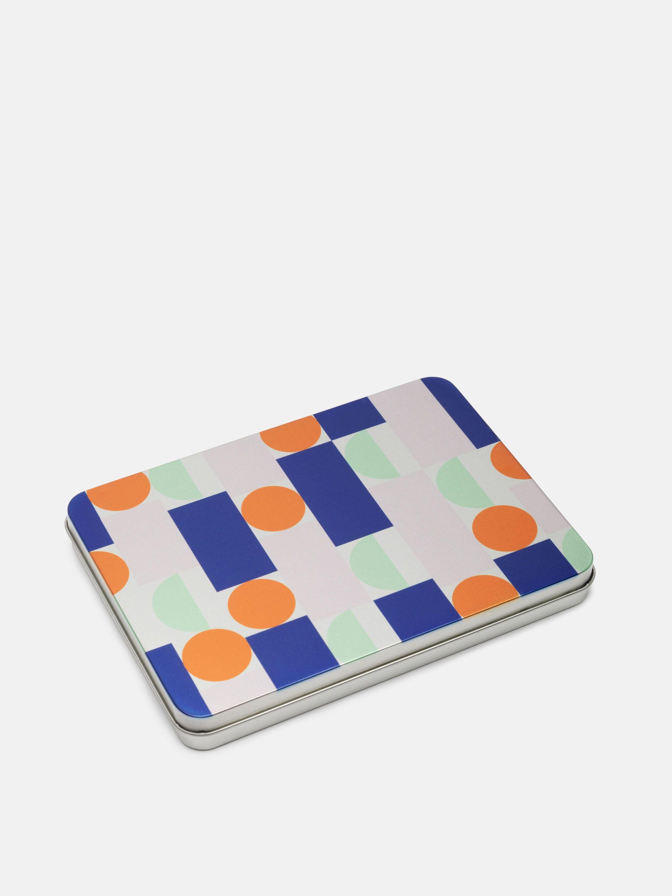 Boîte en métal plate personnalisée avec design