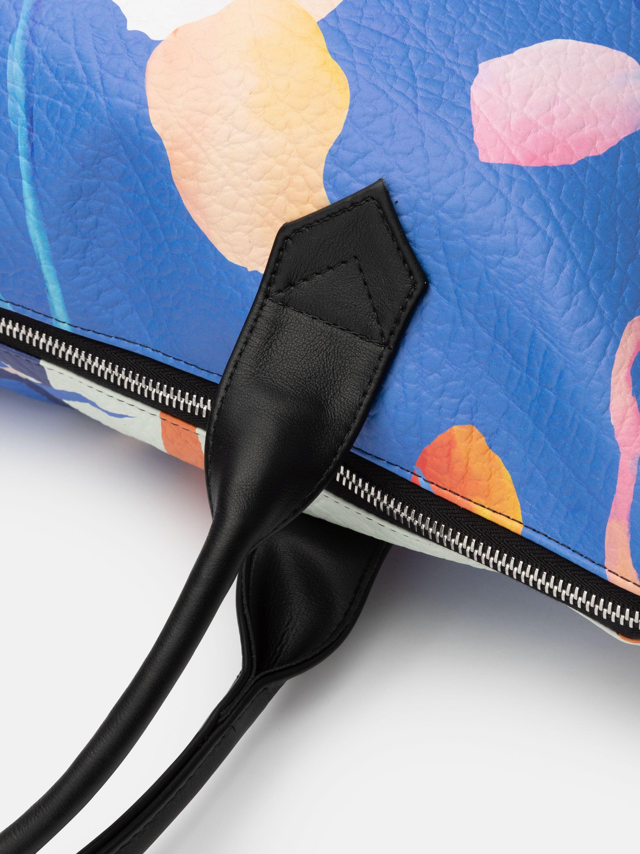 printed leather tote bag
