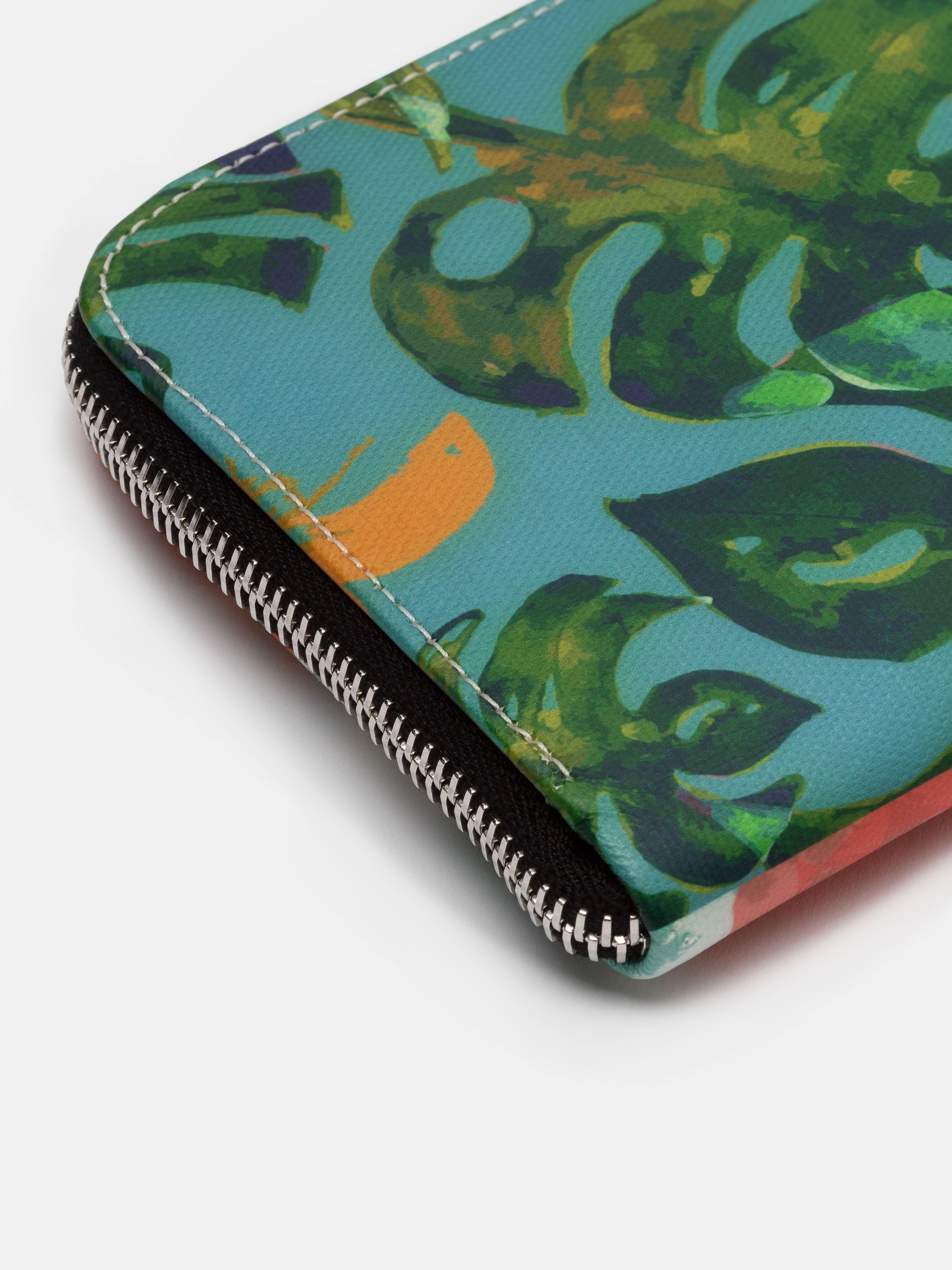 zipper detail leather clutch