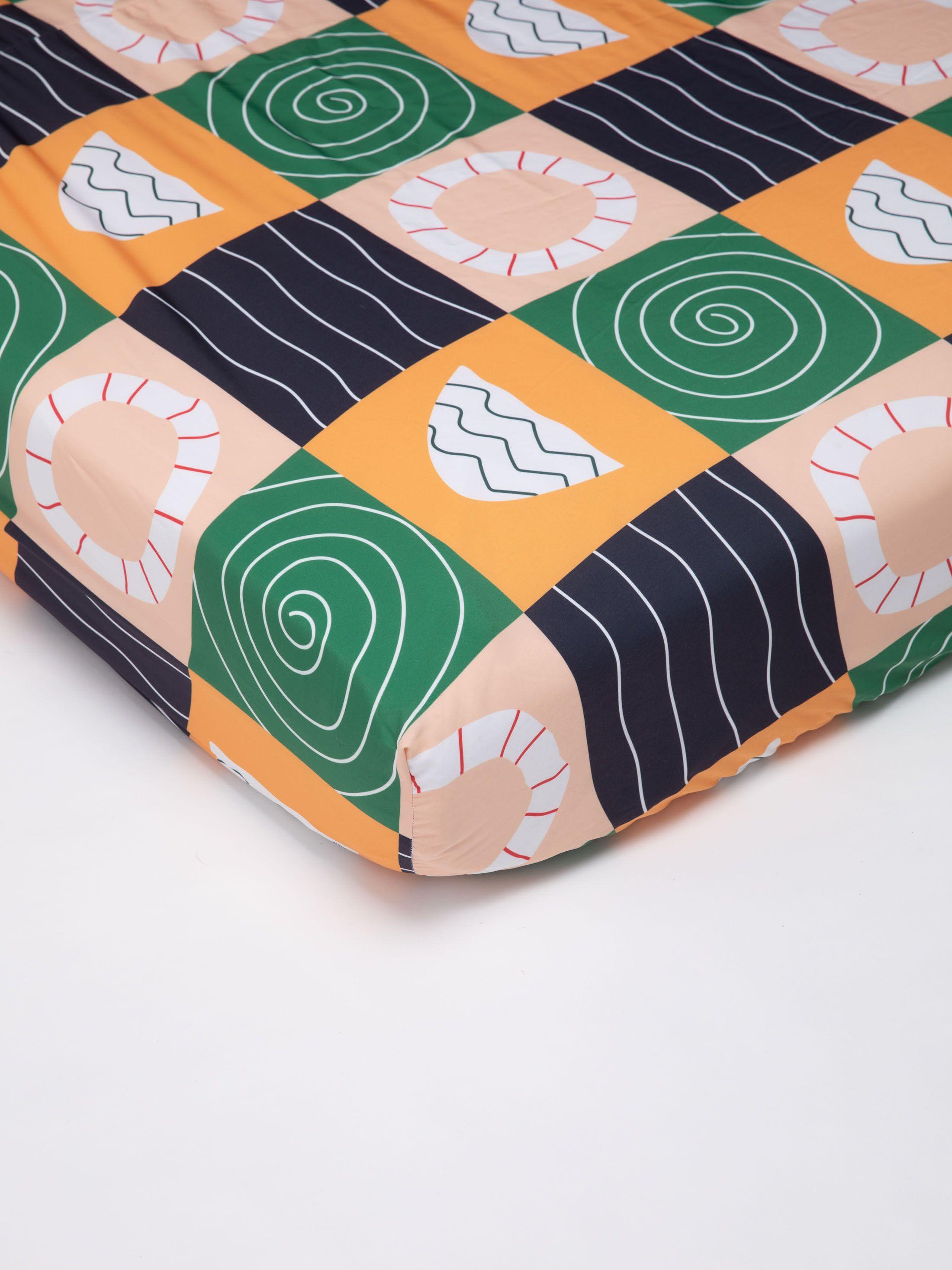 角にゴムの付いたボックスシーツ デザイン印刷