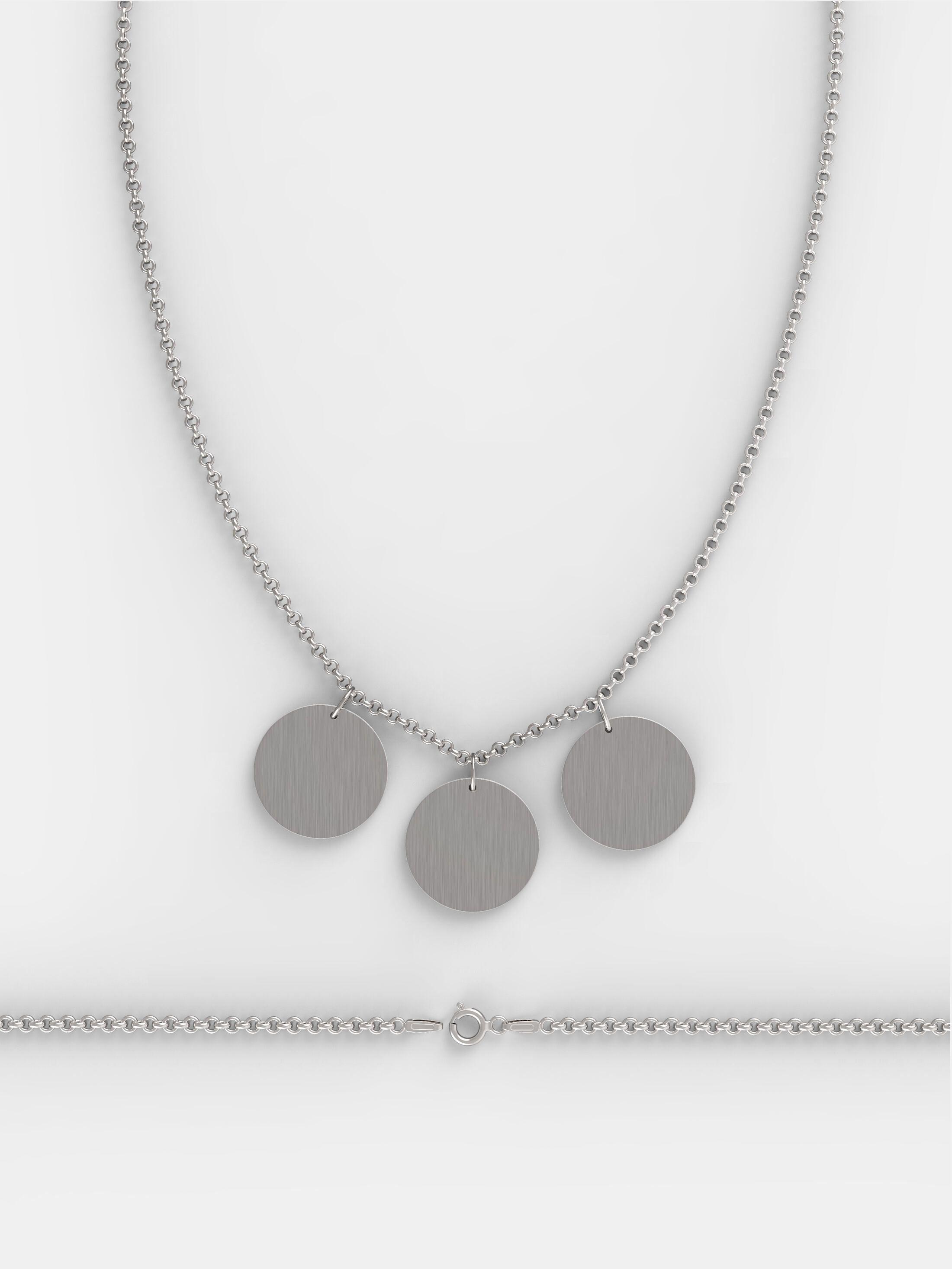 Echtsilber Halskette mit drei Anhängern Finish
