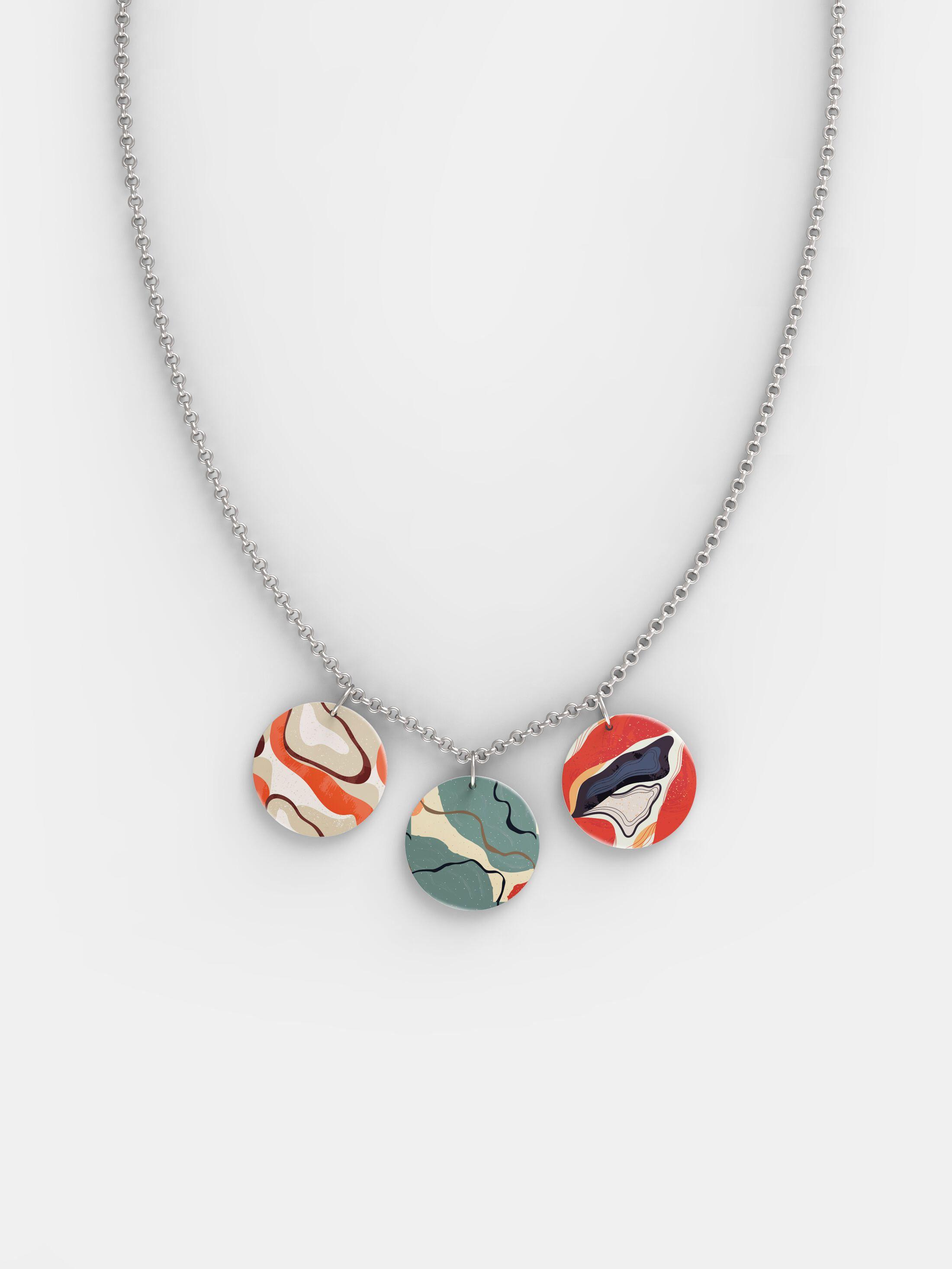 Silber-Halskette mit drei Anhängern bedrucken
