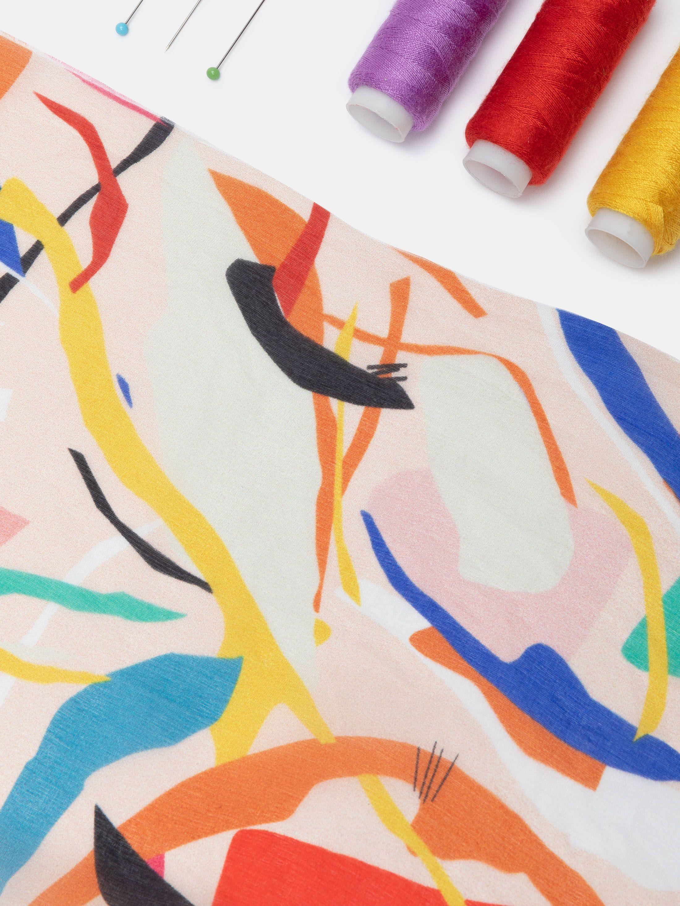 絹紬にデザインプリント