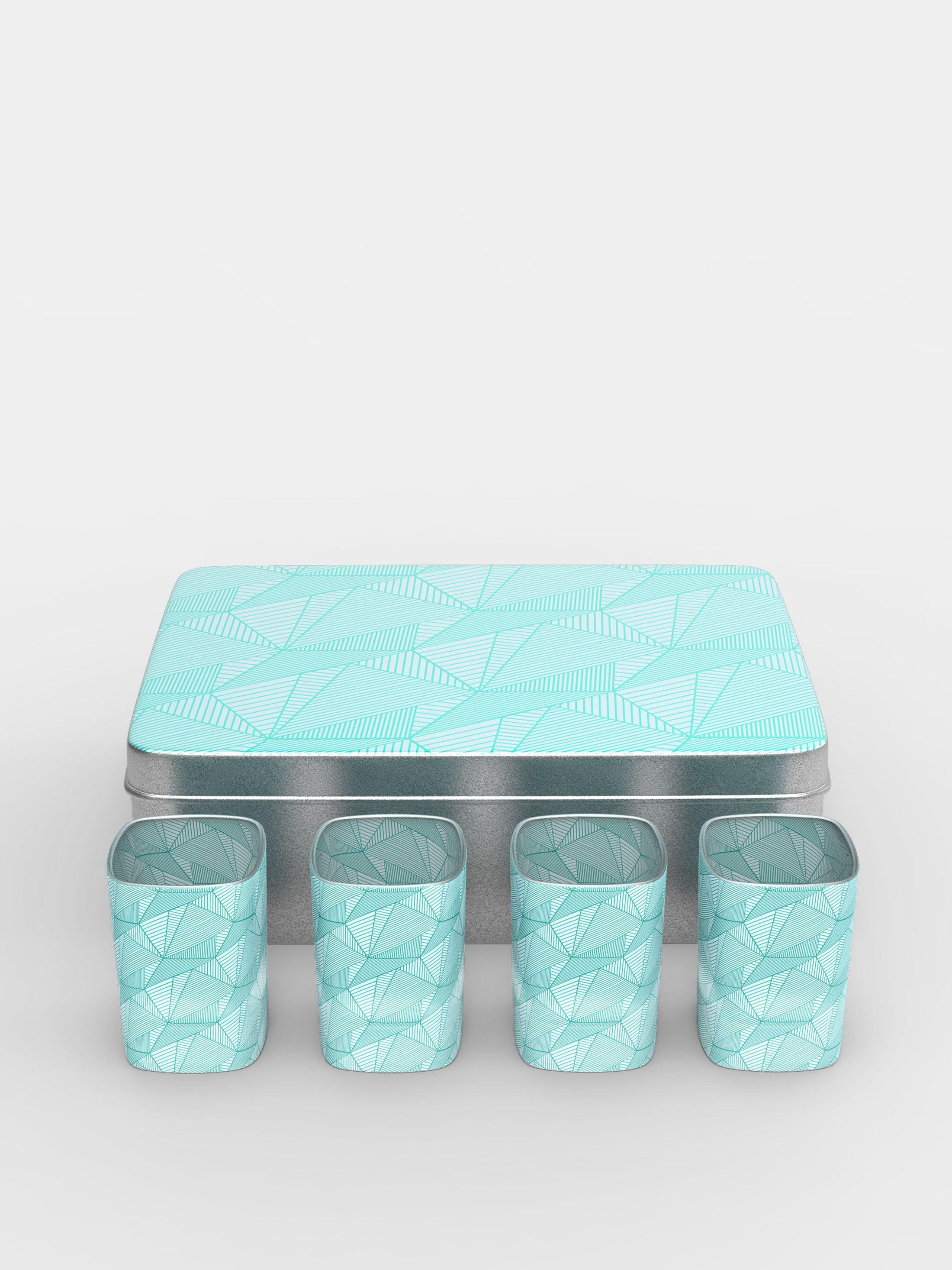 set di bicchieri vodka con logo e scatola