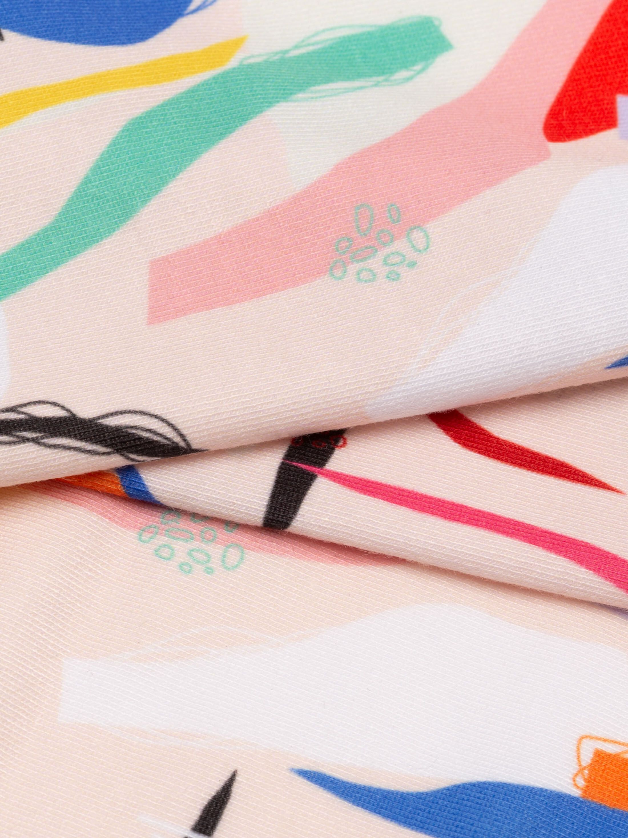 campionario di tessuto stampato in jersey morbido