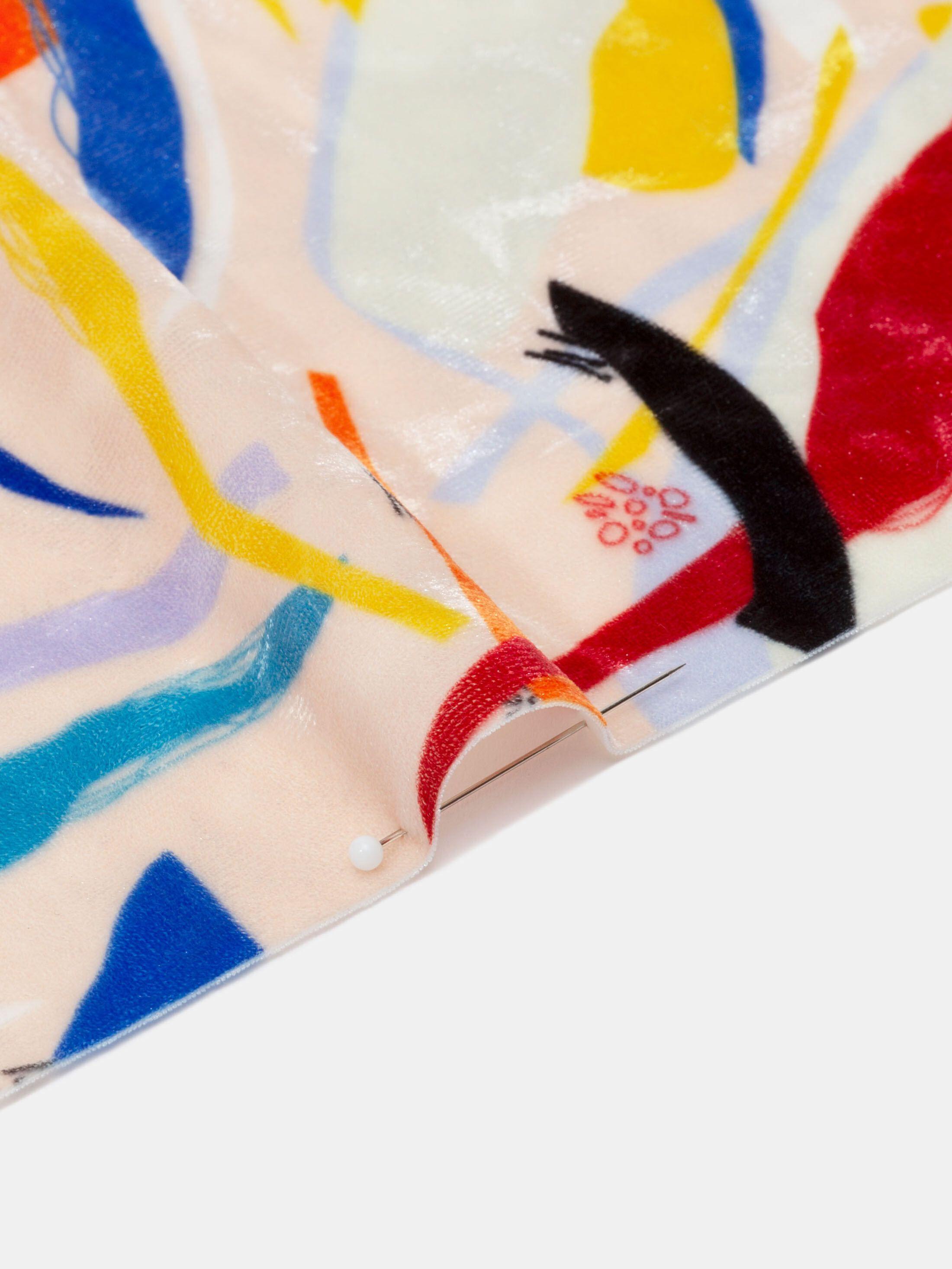 tissu panne de velours imprimé