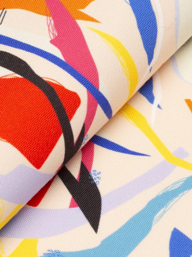 bedruckter canvas stoff detail rückseite pin