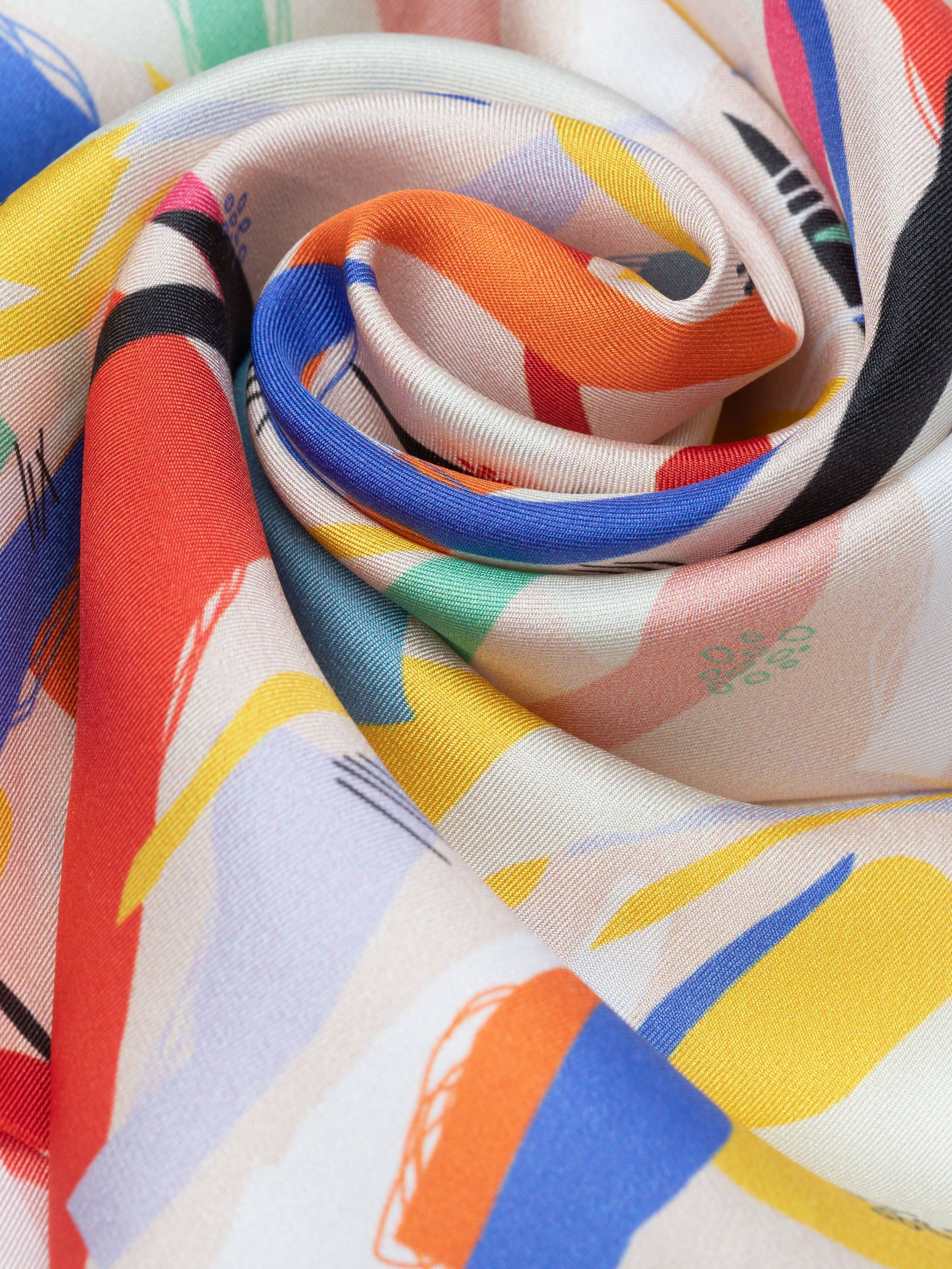 Custom printed twilled silk fabric