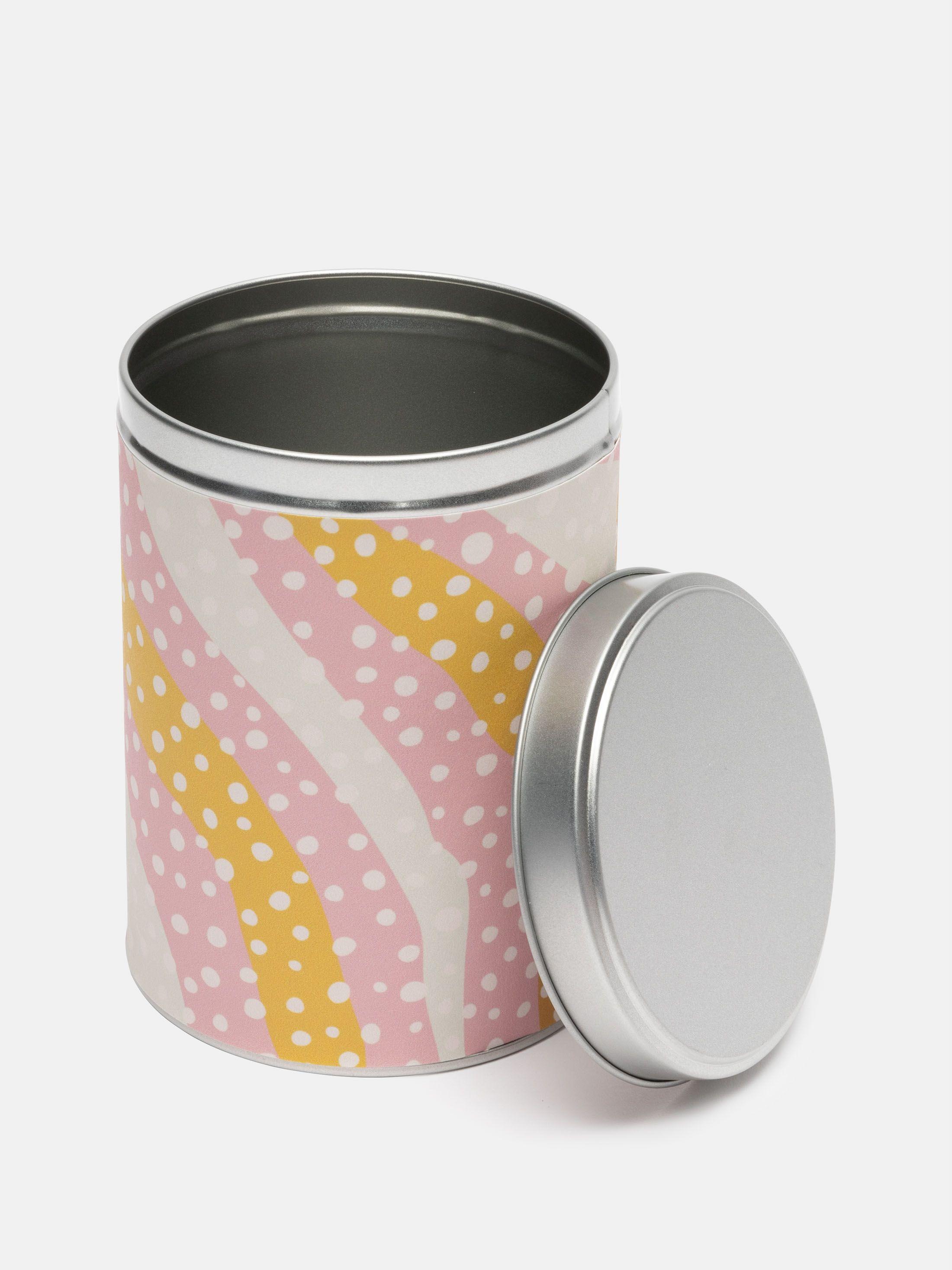 print on tin cylinder shaped