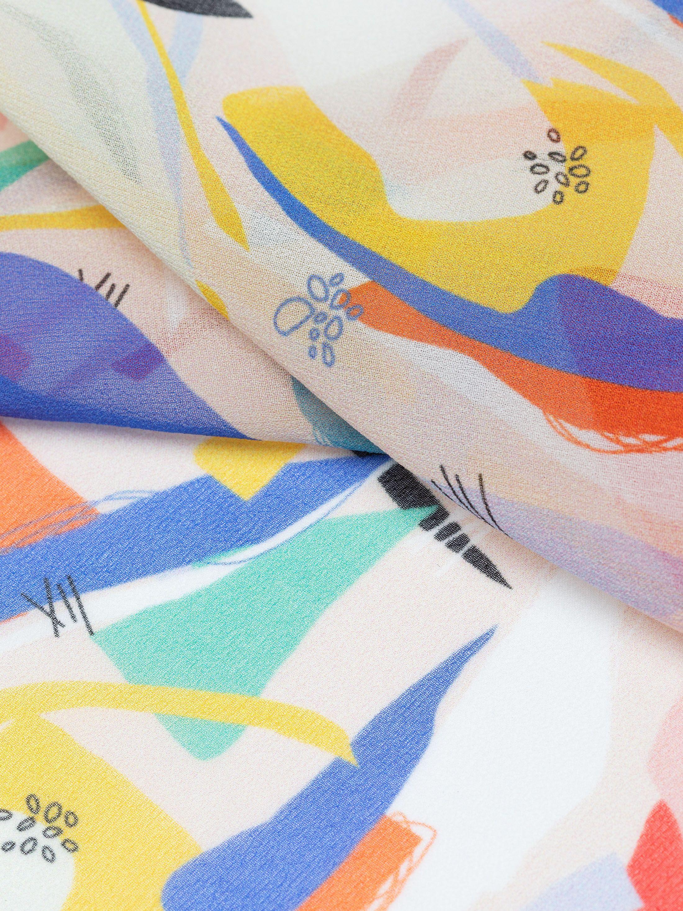 Printing on Silk Georgette Fabric swirl