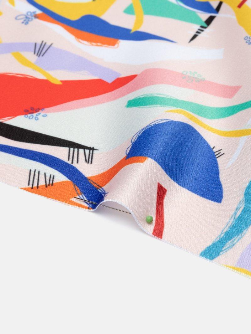 custom print Monroe Satin fabric swirl
