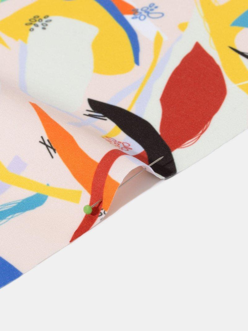 print peach Poly fabric folded texture