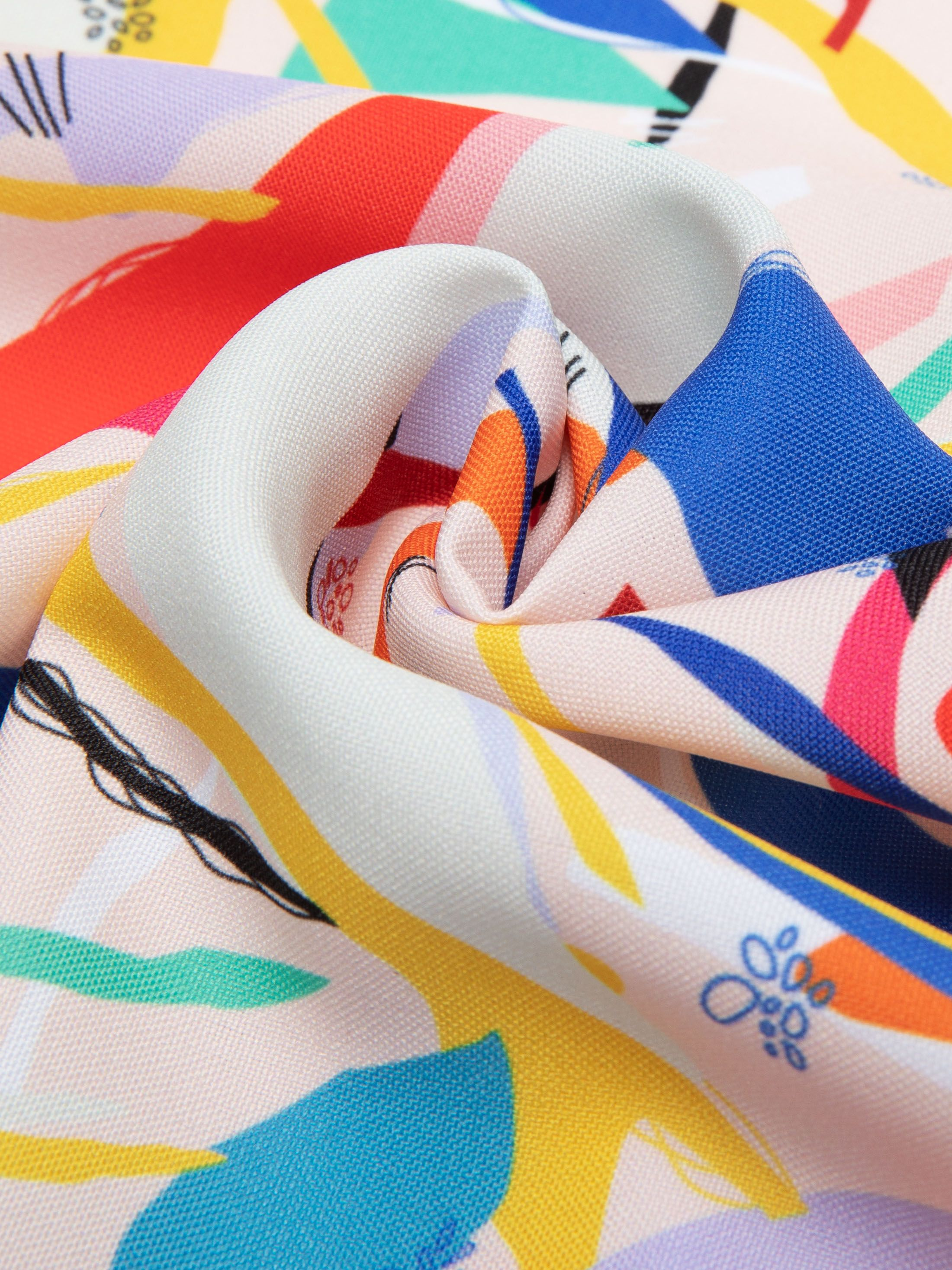 custom printed Panama Flo fabric pleated fold