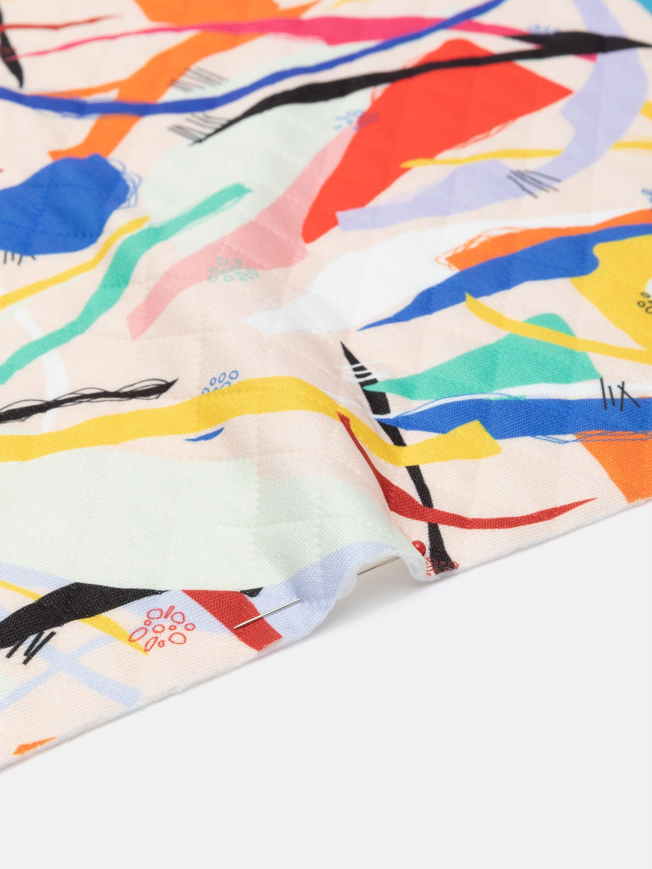 print op Gewatteerde Jersey stof achterkant vastgespeld