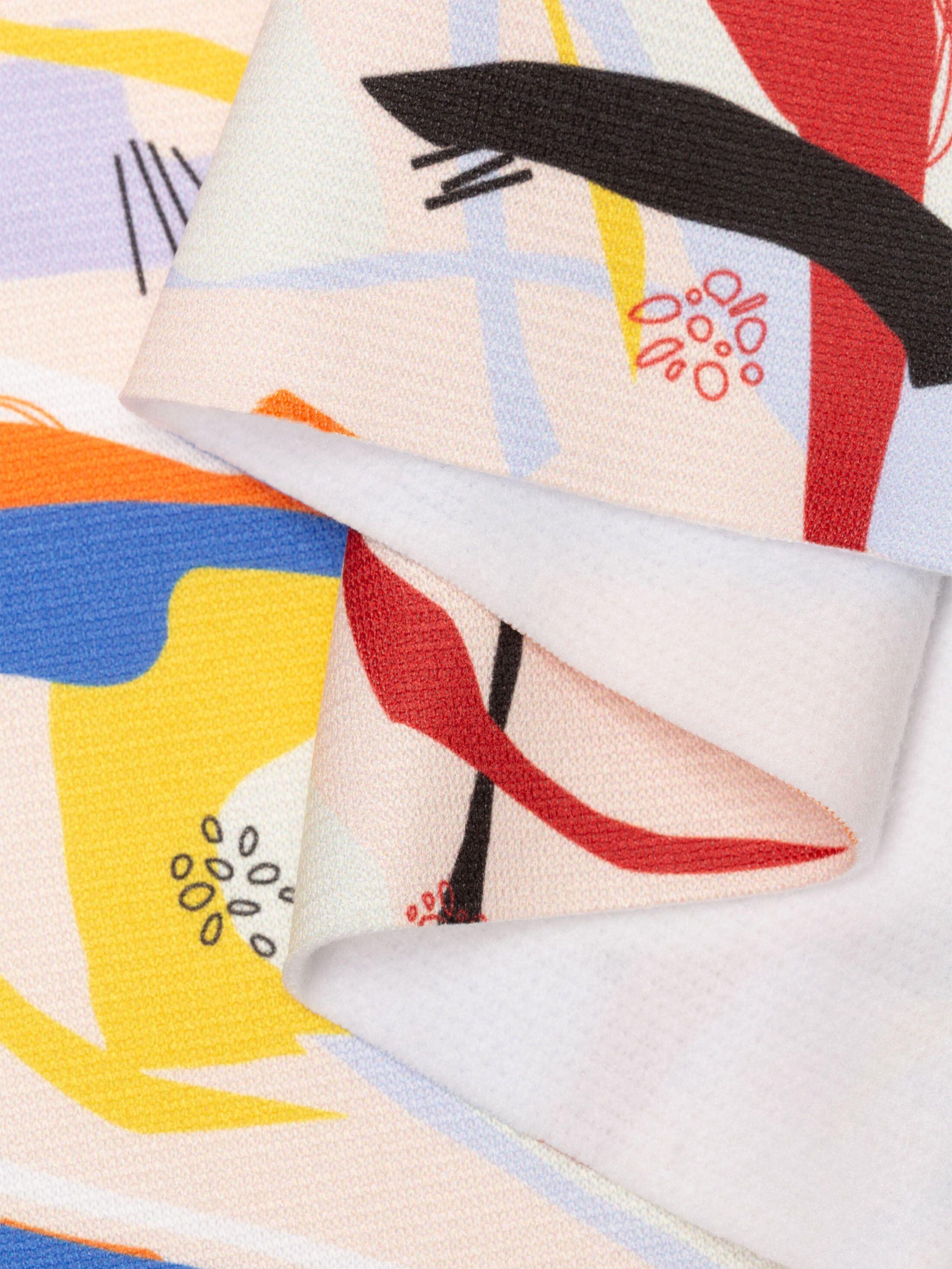Heavy Jersey digital print fabric pinned