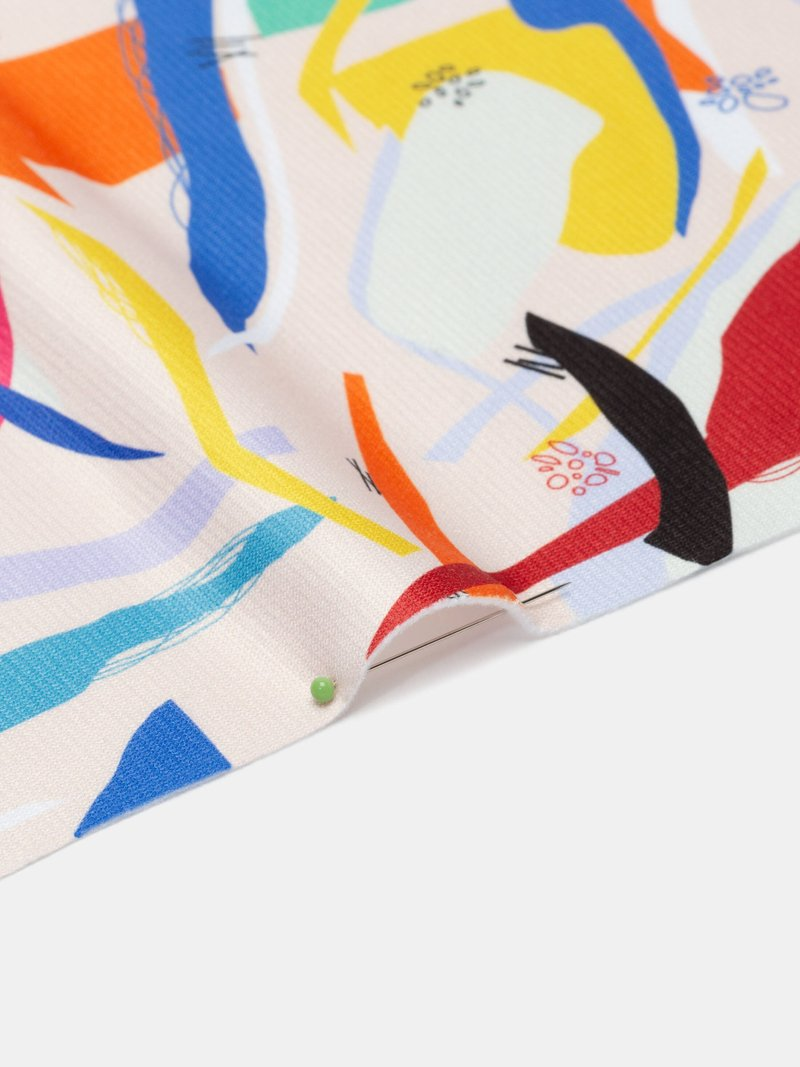 custom print Heavy Jersey fabric folded pleat