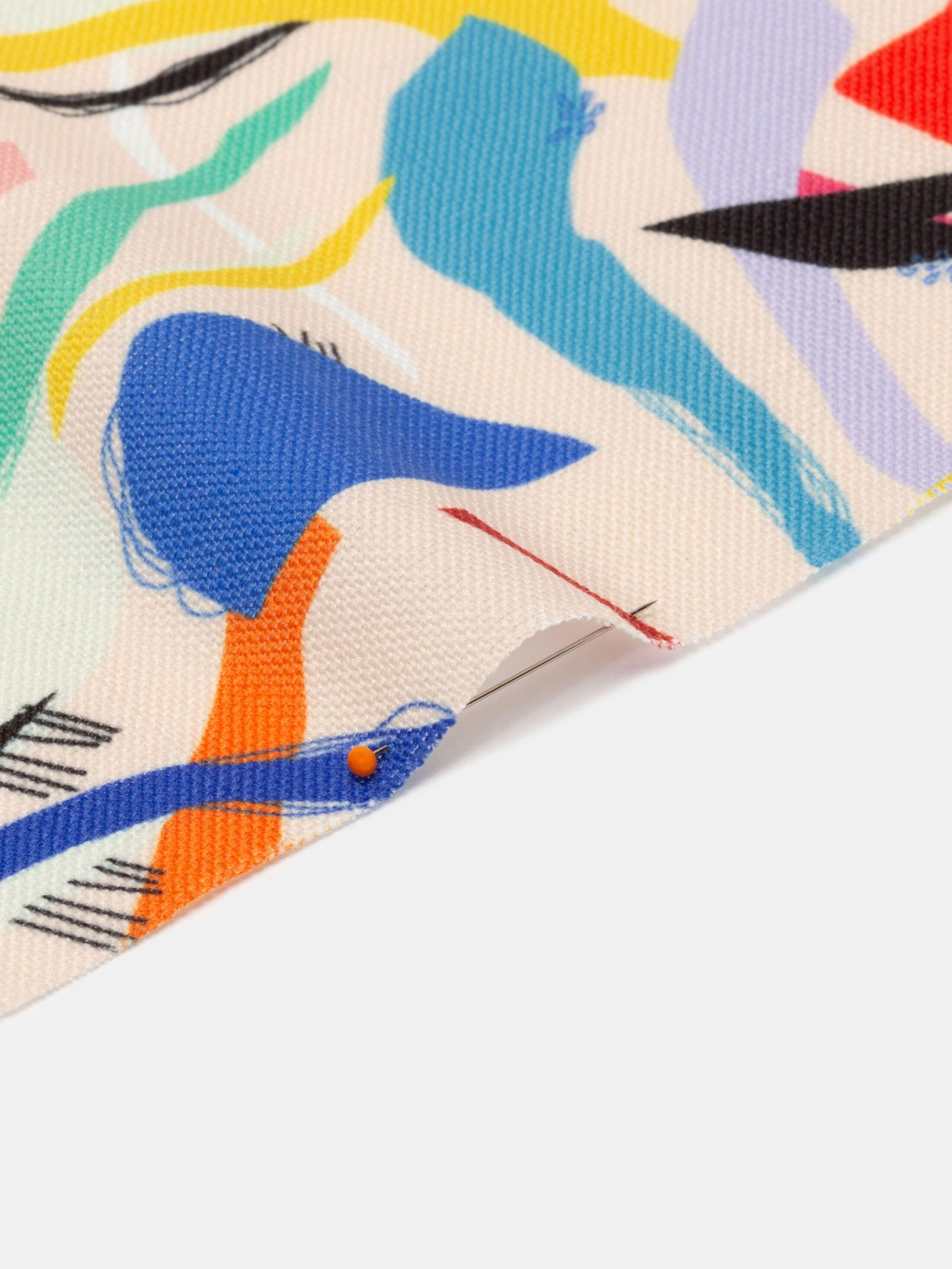geweven linnenstof met print