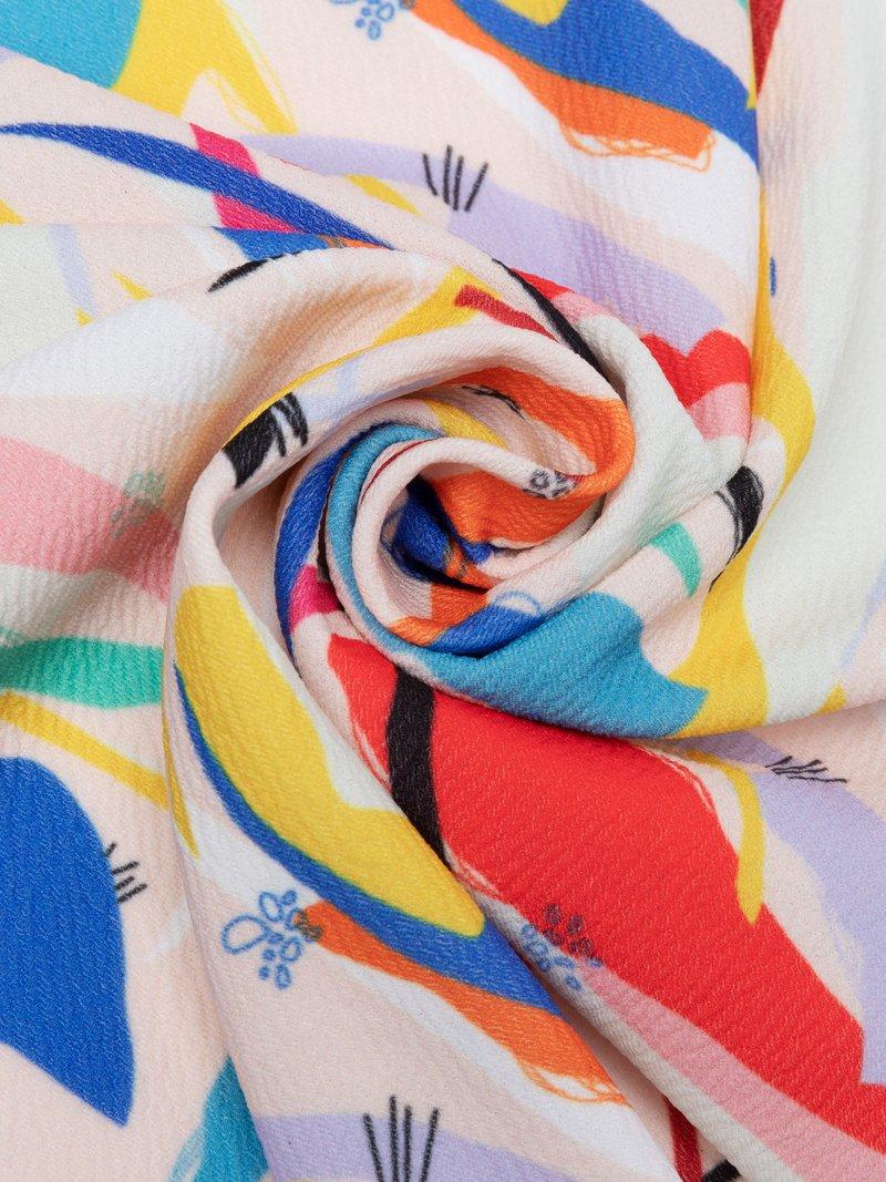 stretch crêpe stof met print