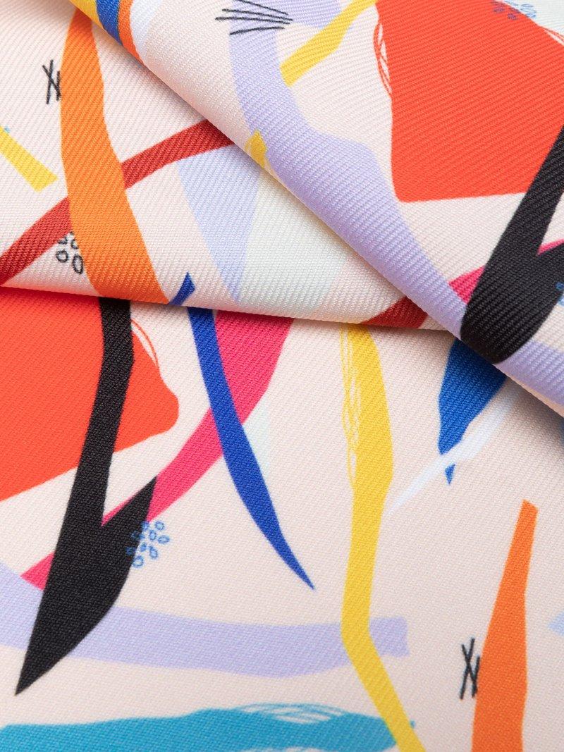 custom print Poly Twill weave fabric pinned