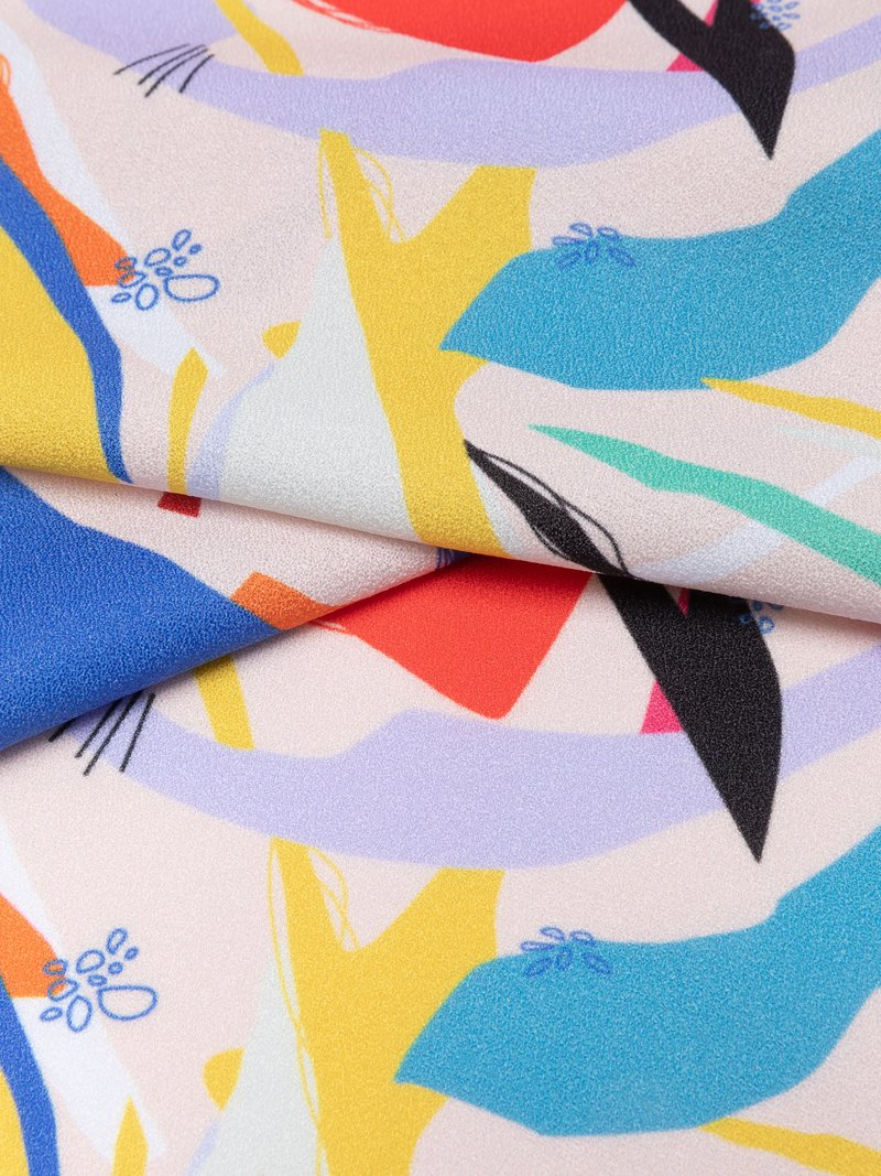 stretch crêpe stof print detail