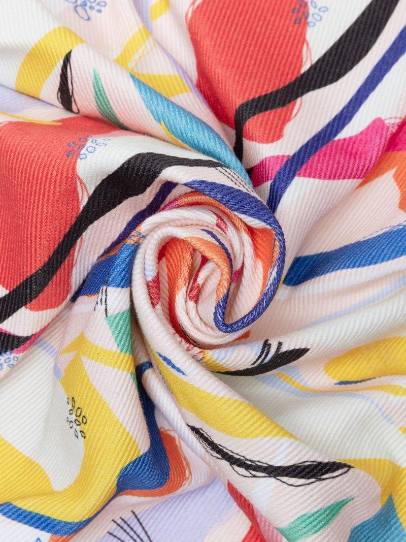 Print White denim fabric photo design
