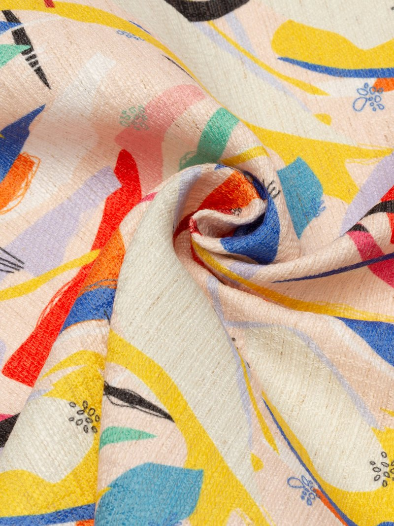 Linneblandad textil med eget tryck