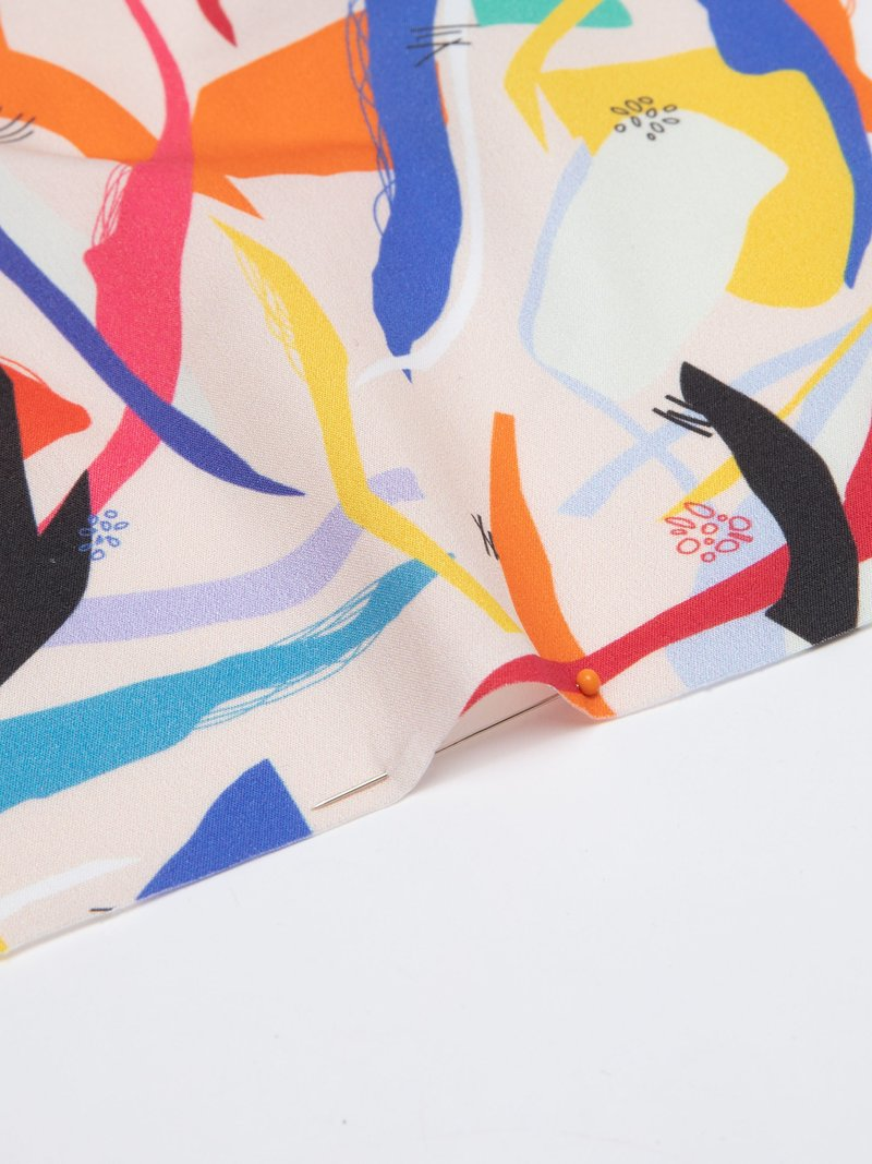 draped and hanging printed organic cotton fabric