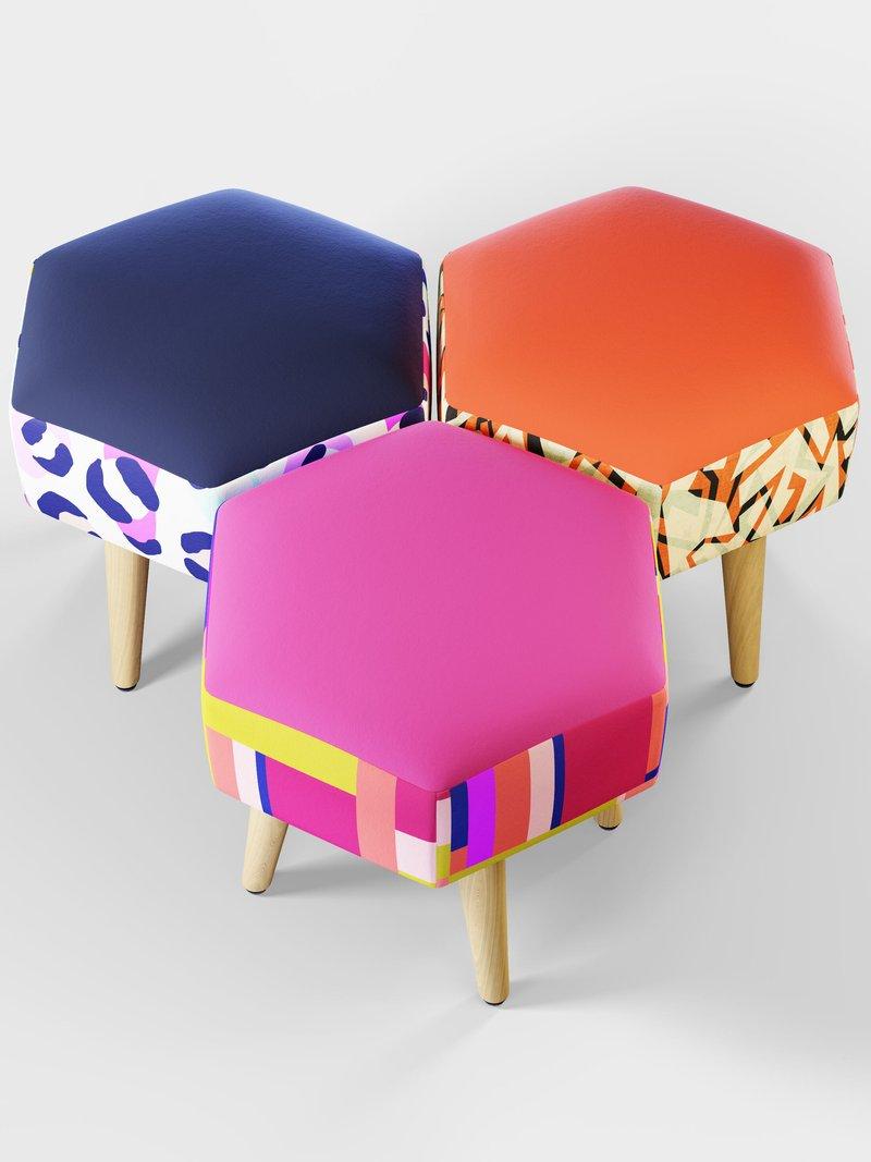 custom vanity stool hexagon shape