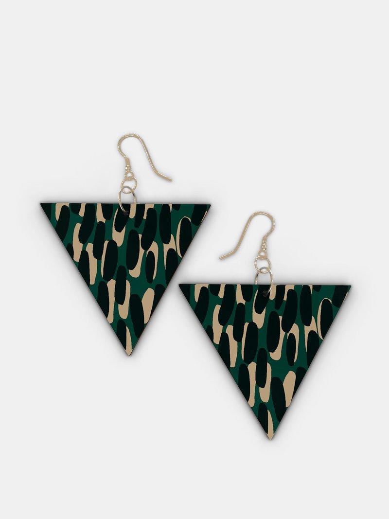 custom printed wooden earrings triangle