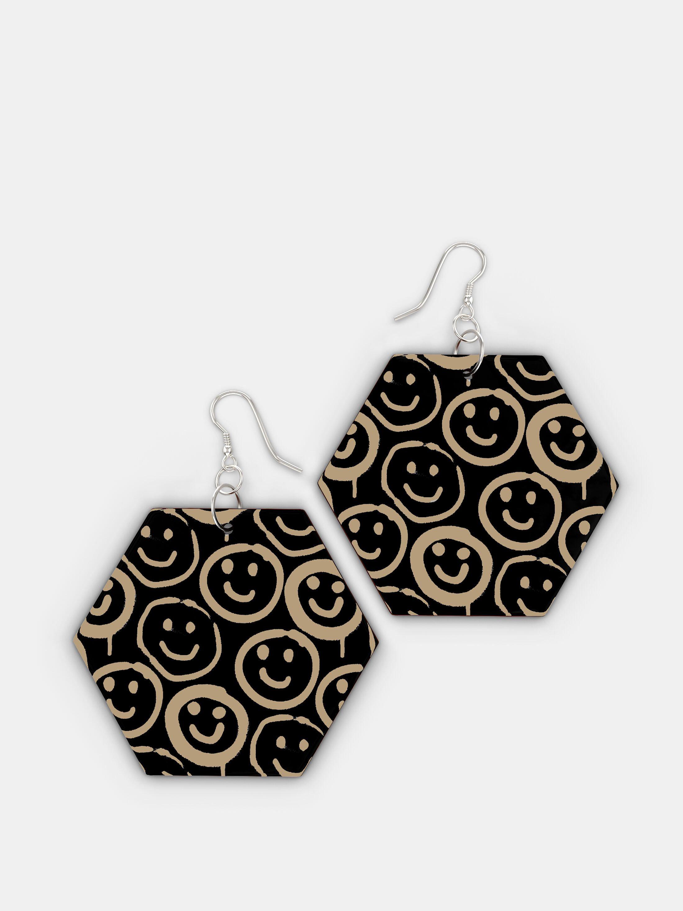 design your own wooden earrings hexagon