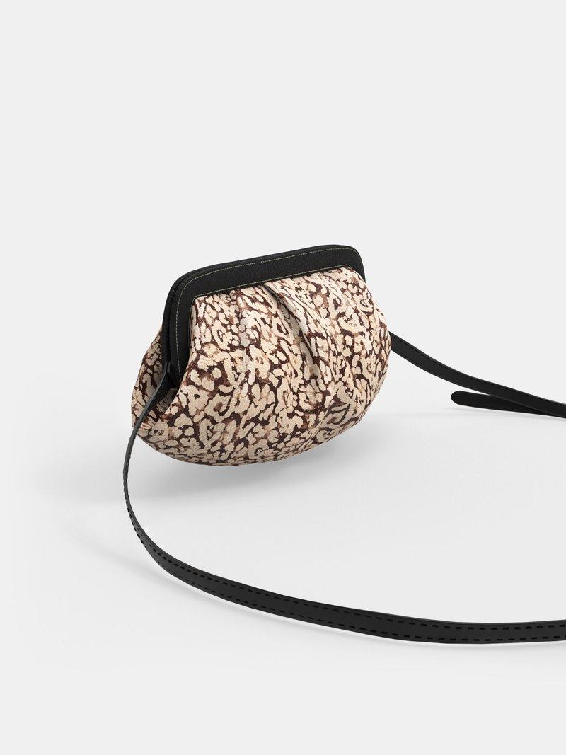gepersonaliseerde tas met plooien leren hengsel