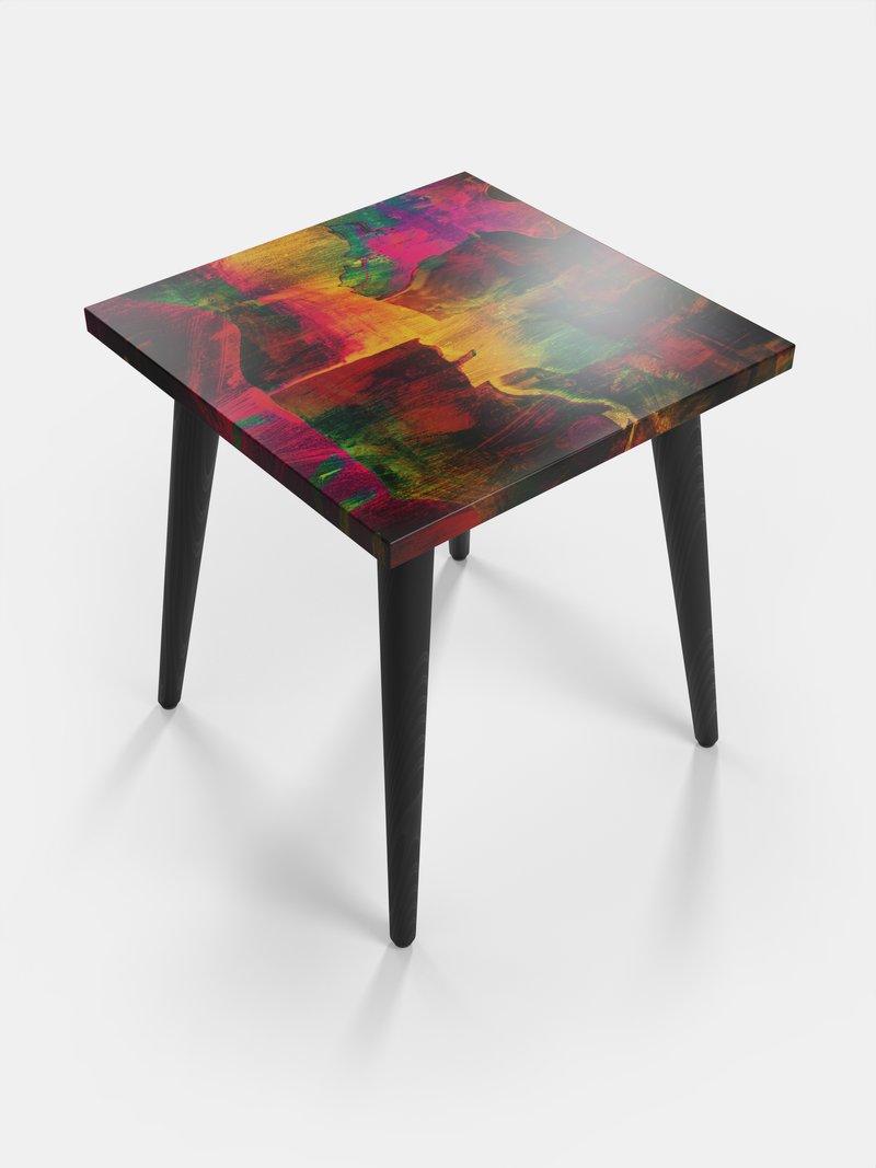 bedrukte vierkante bijzettfafel