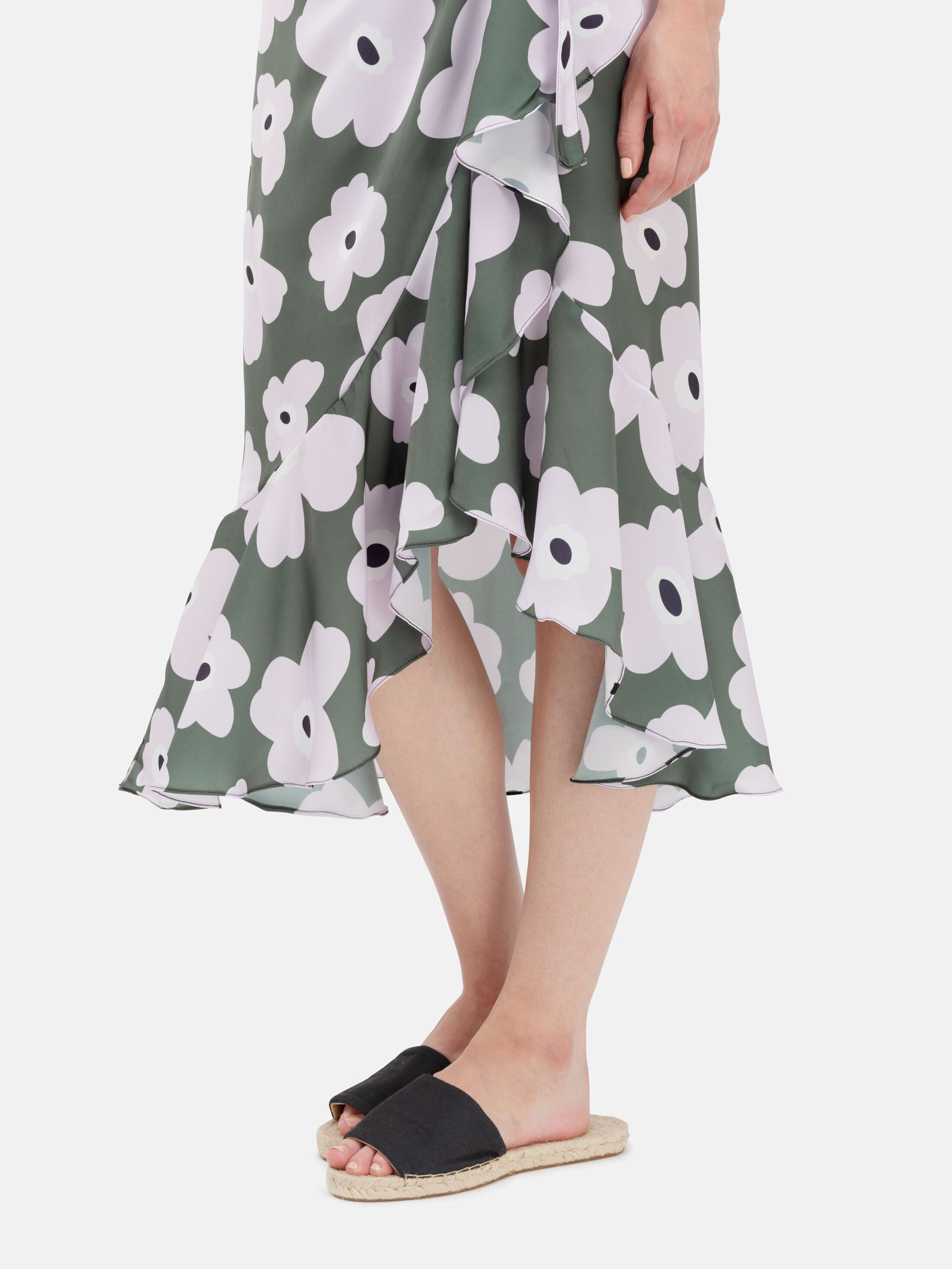 printed flounce skirt details