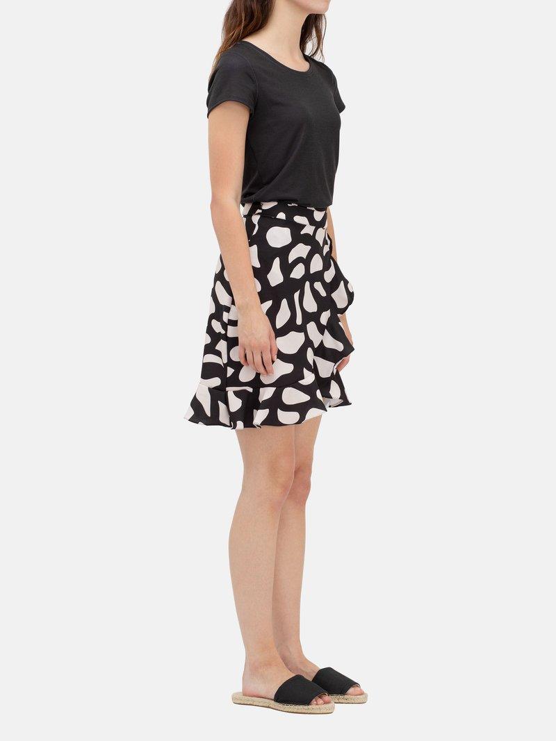 printed flounce skirt