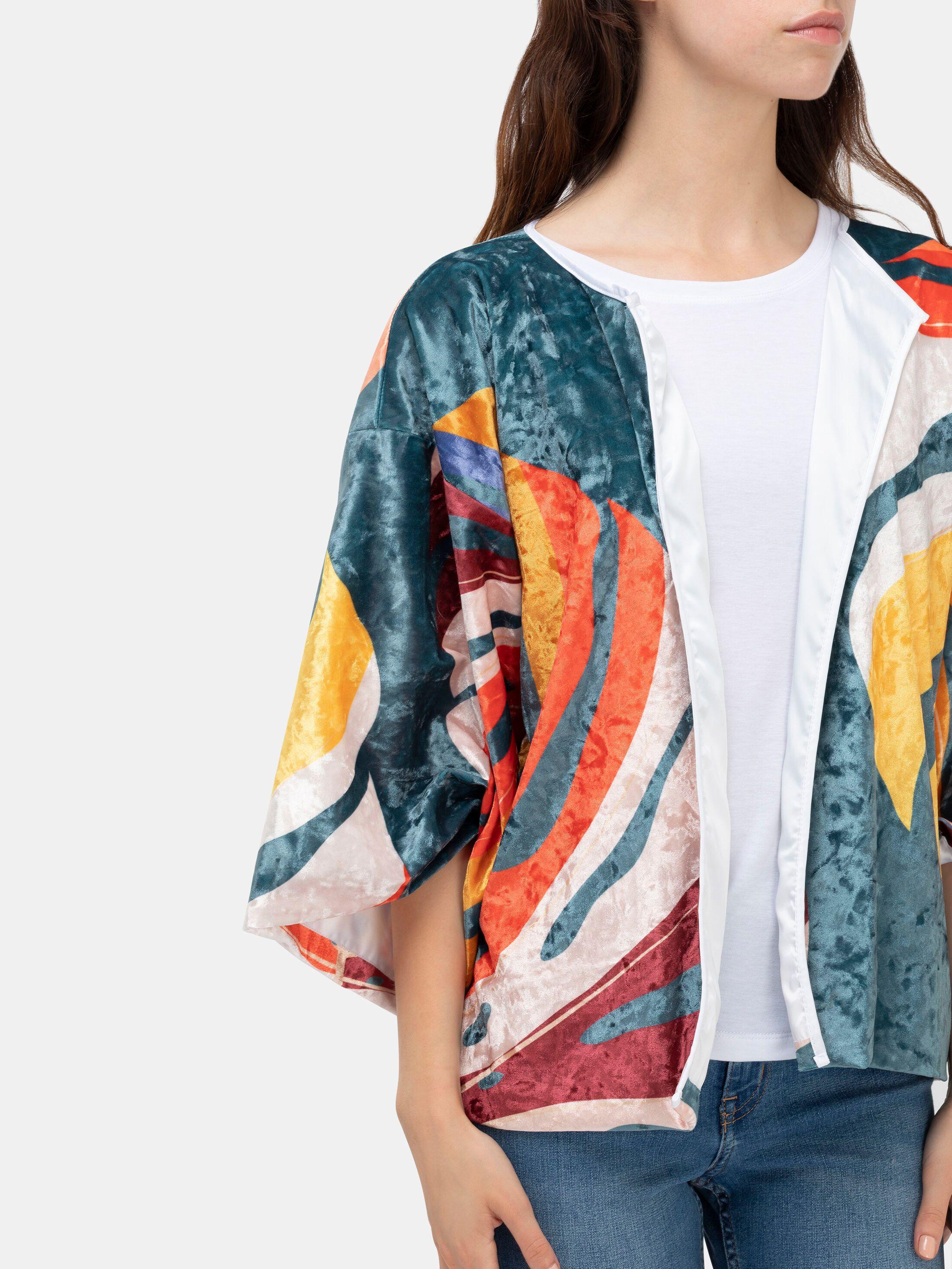 kimono blazer mit rosa design