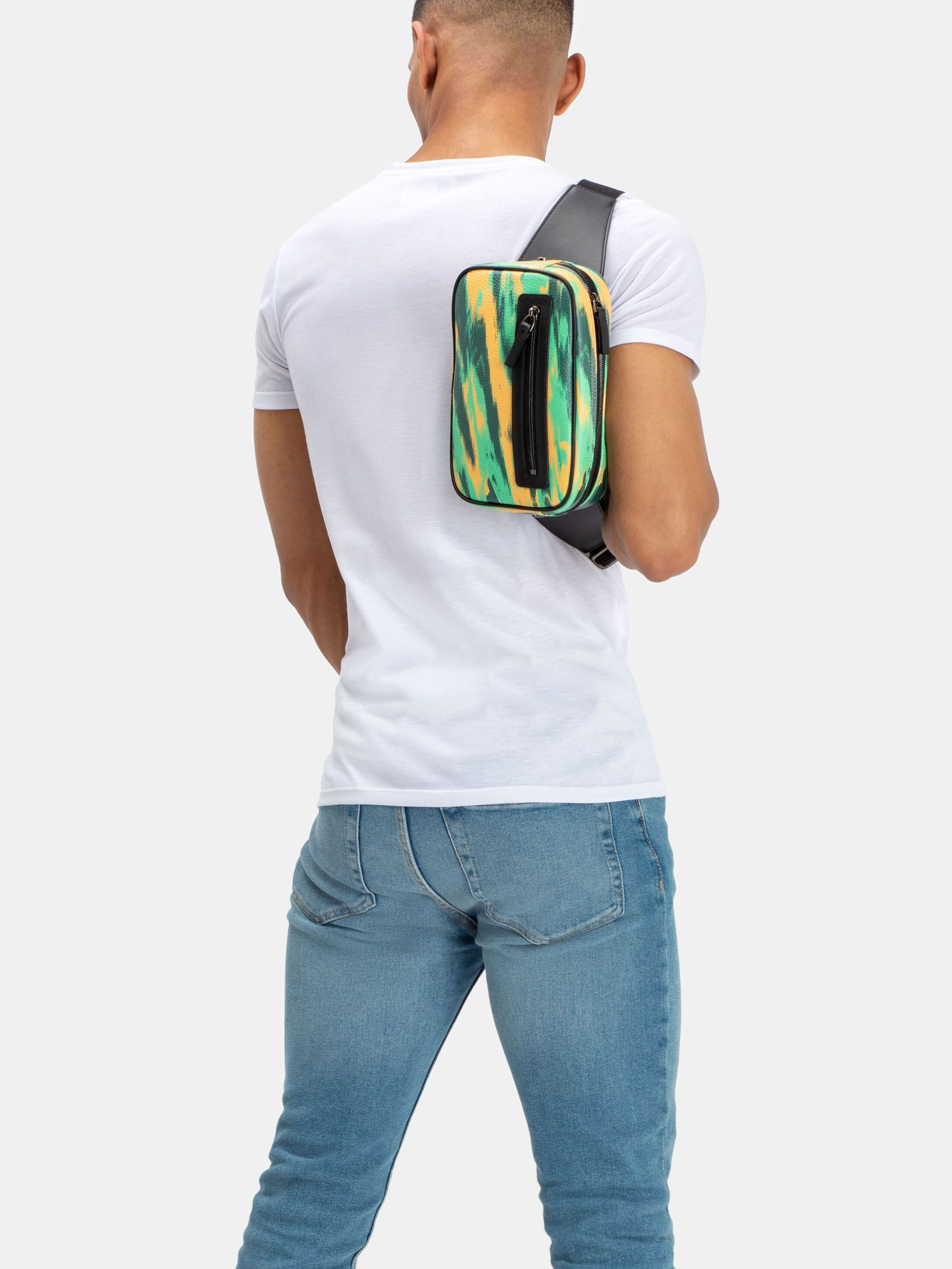 printed bum bag with zip