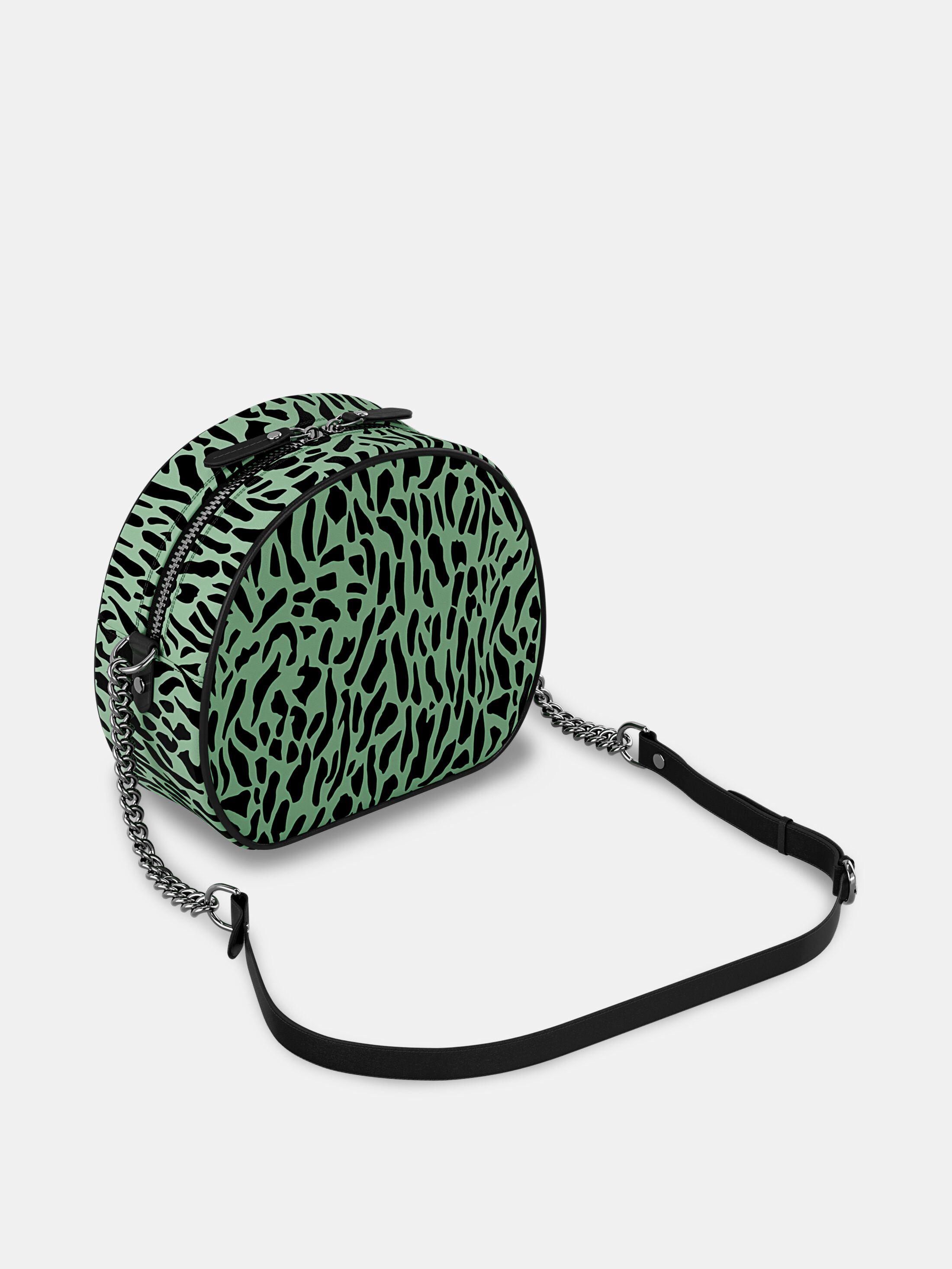 custom round crossbody bag green print