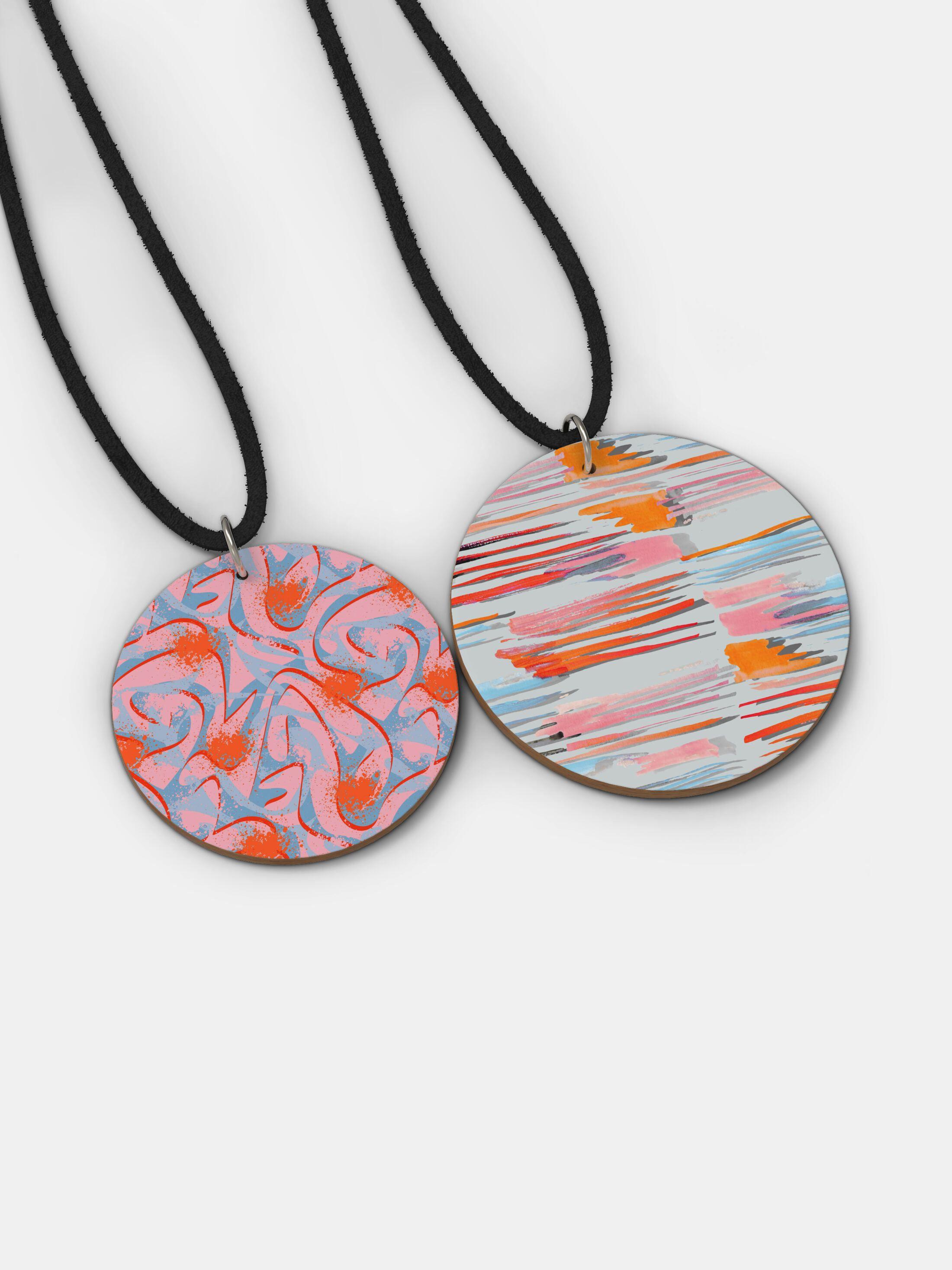 custom printed wood pendant necklace