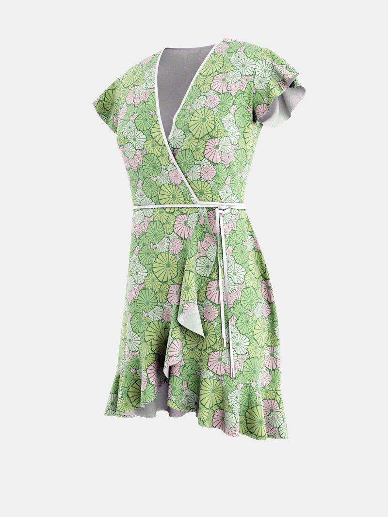 カスタムオーダーメイドのフレアラップドレス