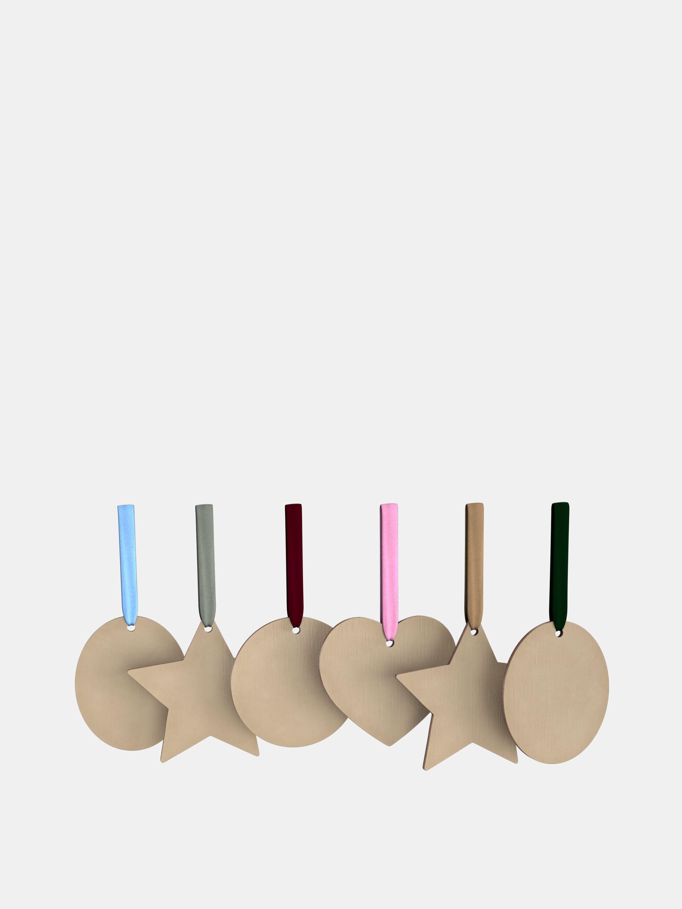 bedrukte houten kersthangers in vier vormen