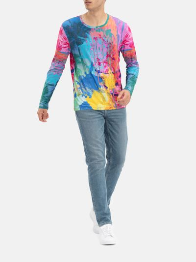mens premium cotton long sleeve custom printed