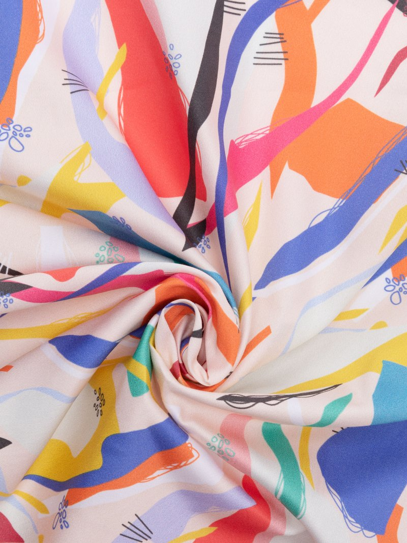 cotton sateen printing swirl
