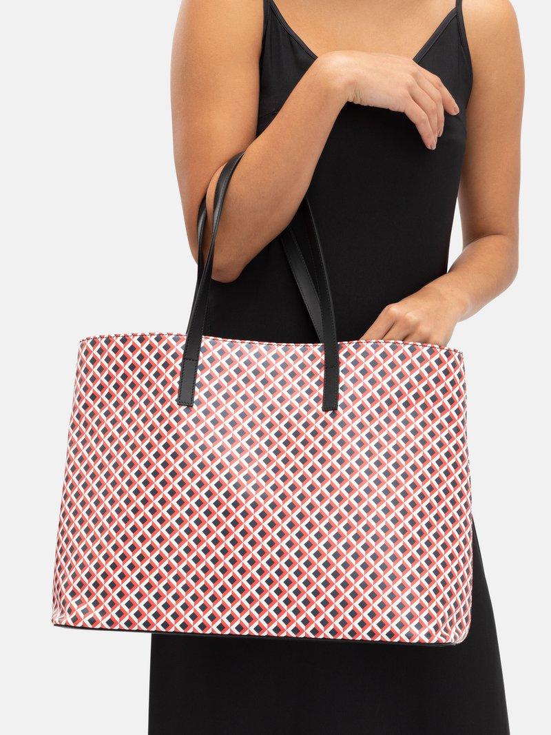 printed leather tote bag detail